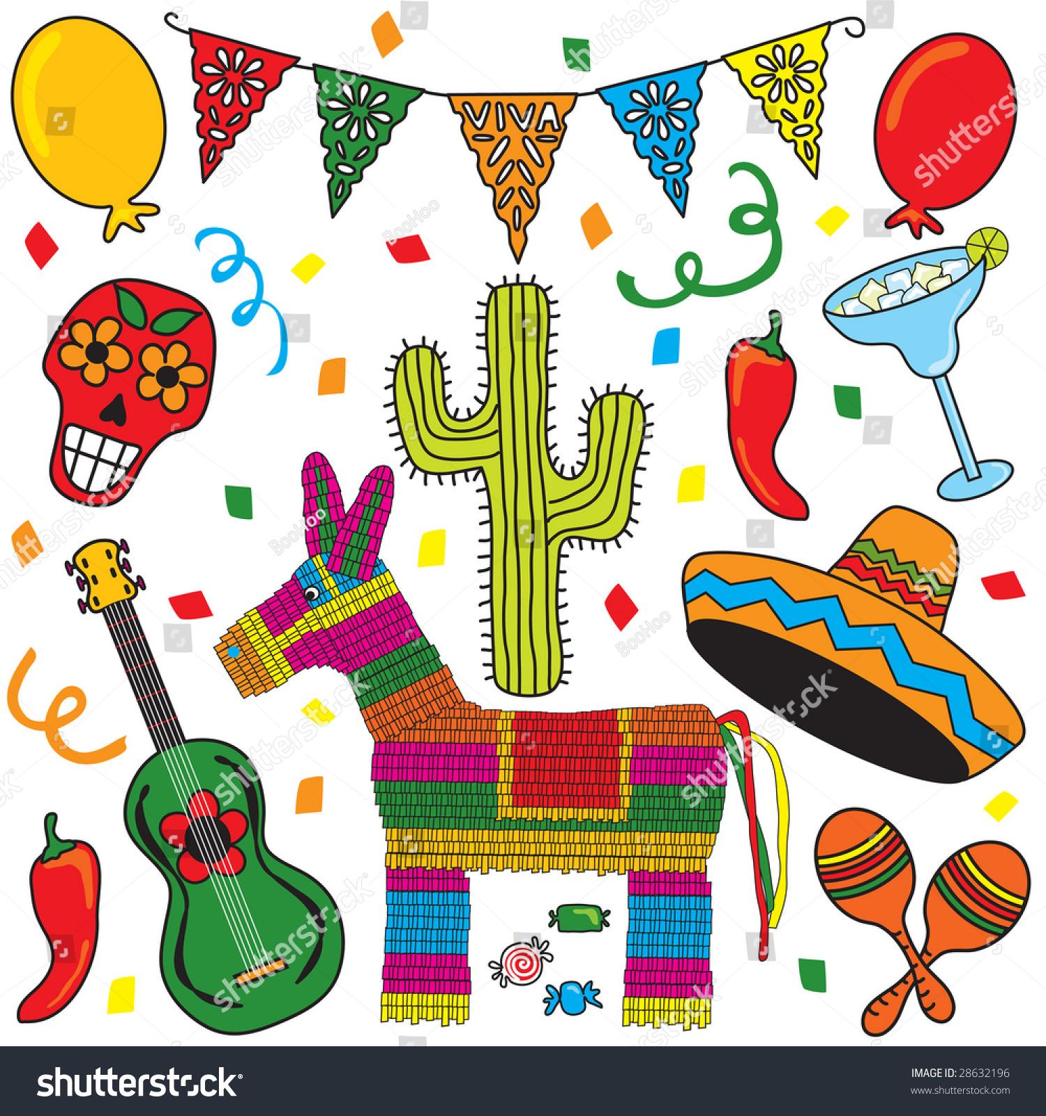 mexican party fiesta clip art individually stock