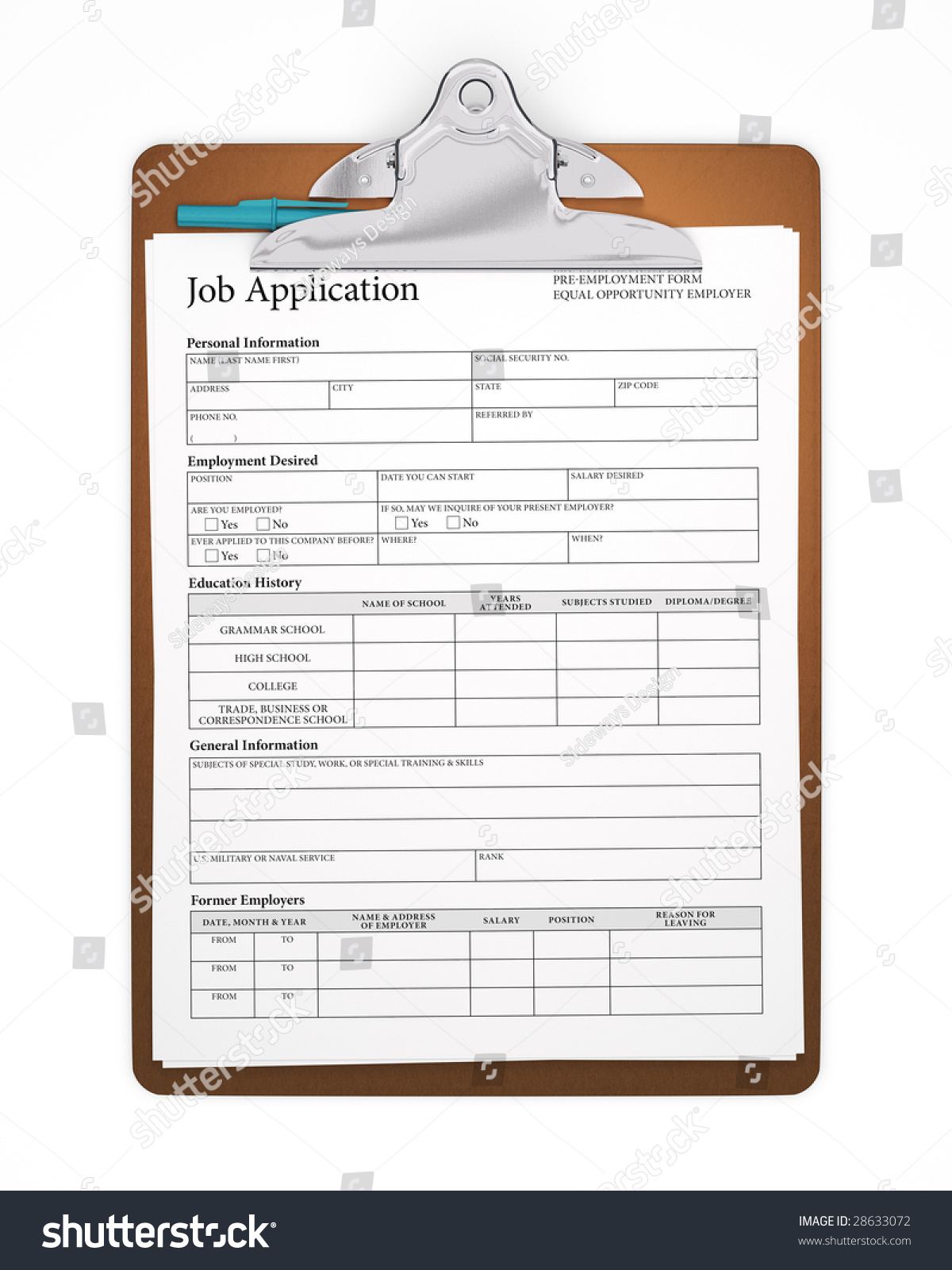 isolated clipboard job application formのイラスト素材 28633072