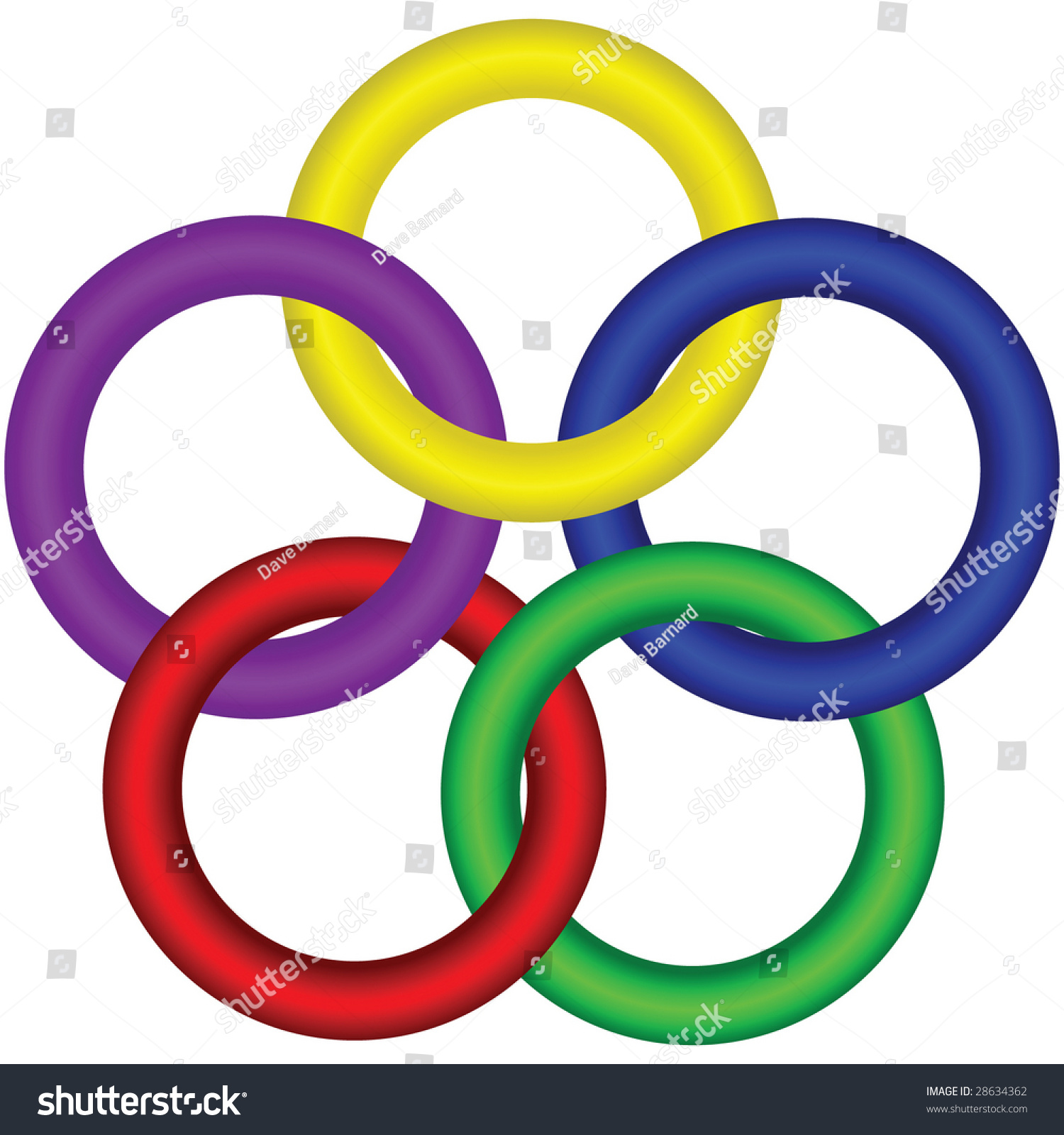 interlocking d rings star shape eps stock vector  interlocking 3d rings in a star shape eps8 file format background on separate layer