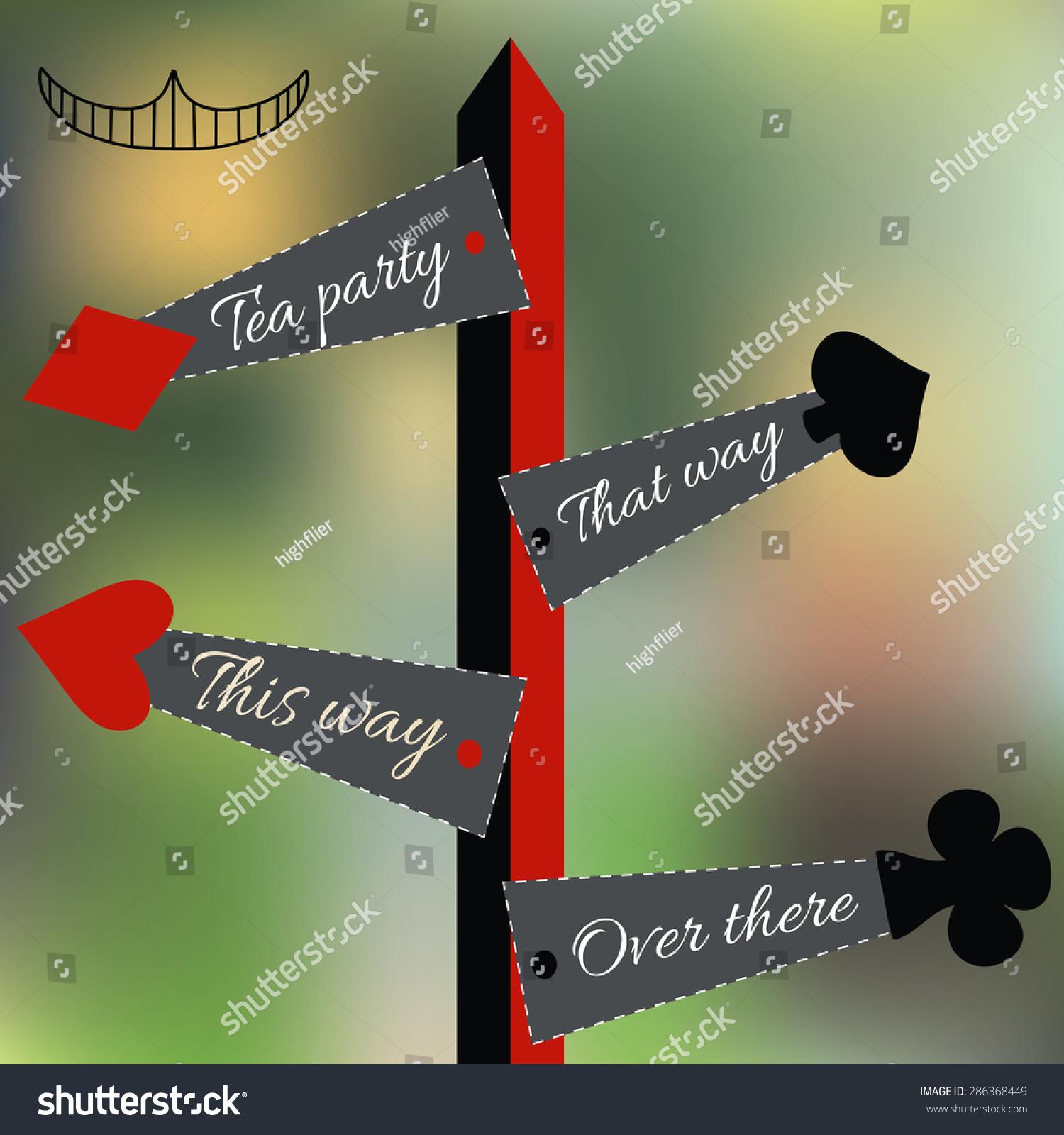 Popular Alice Set Four Arrow Signs Wonderland Stock Vector 286368449  FU92