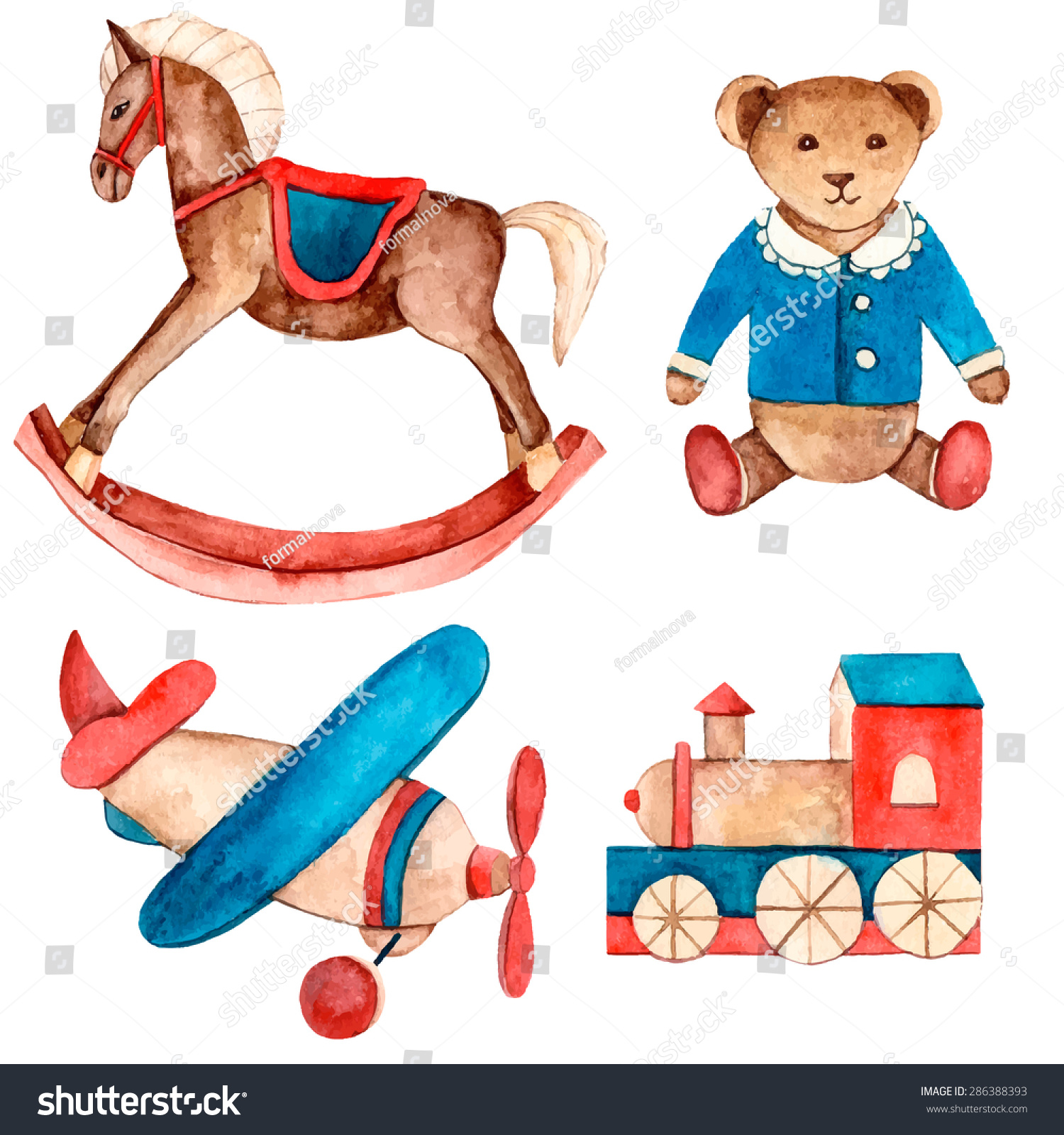 Baby Toys Drawing : Watercolor vintage set toys hand drawn stock vector