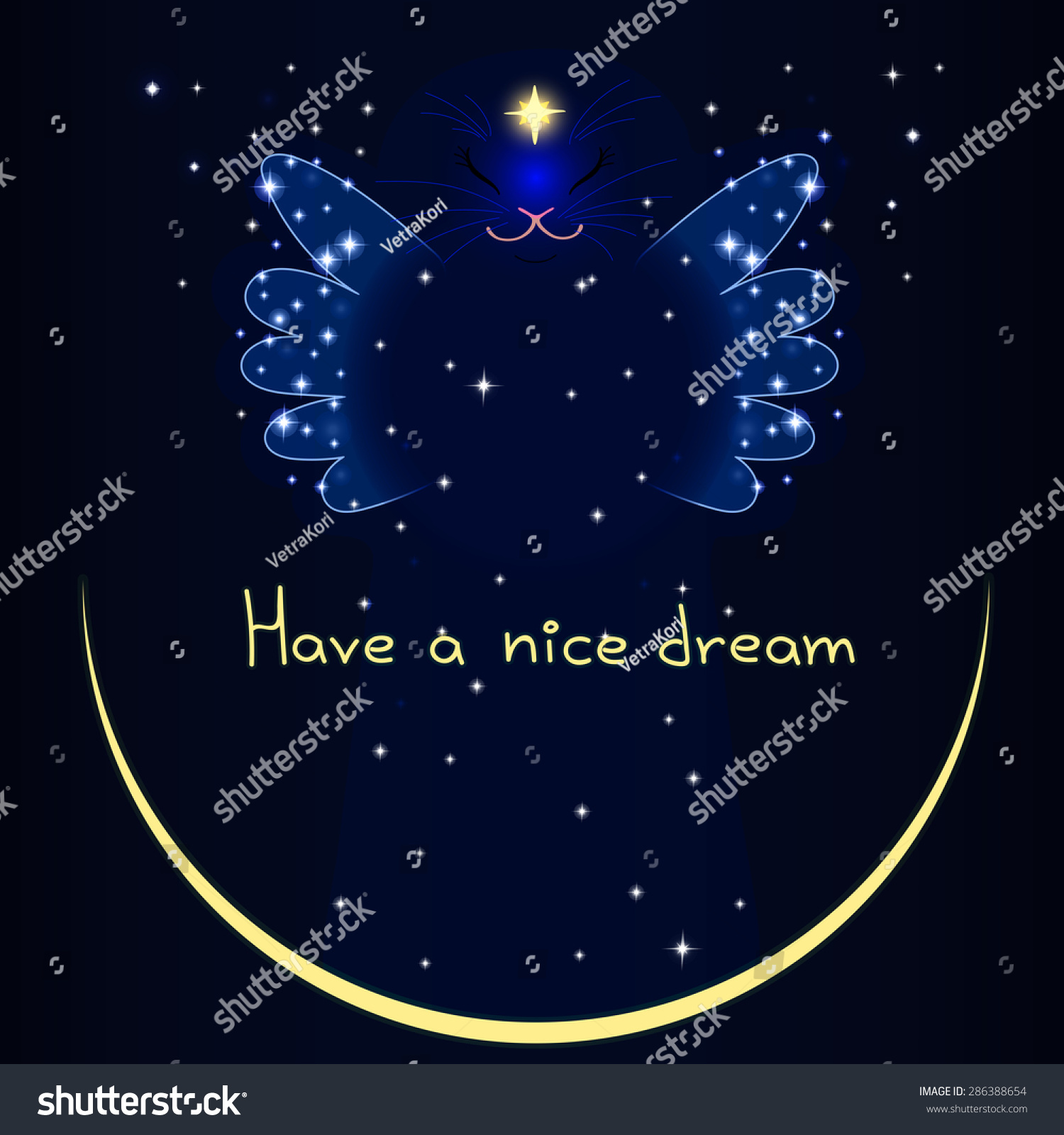 Cat night fairy have nice dream stock vector 286388654 shutterstock cat night fairy have a nice dream buycottarizona Gallery
