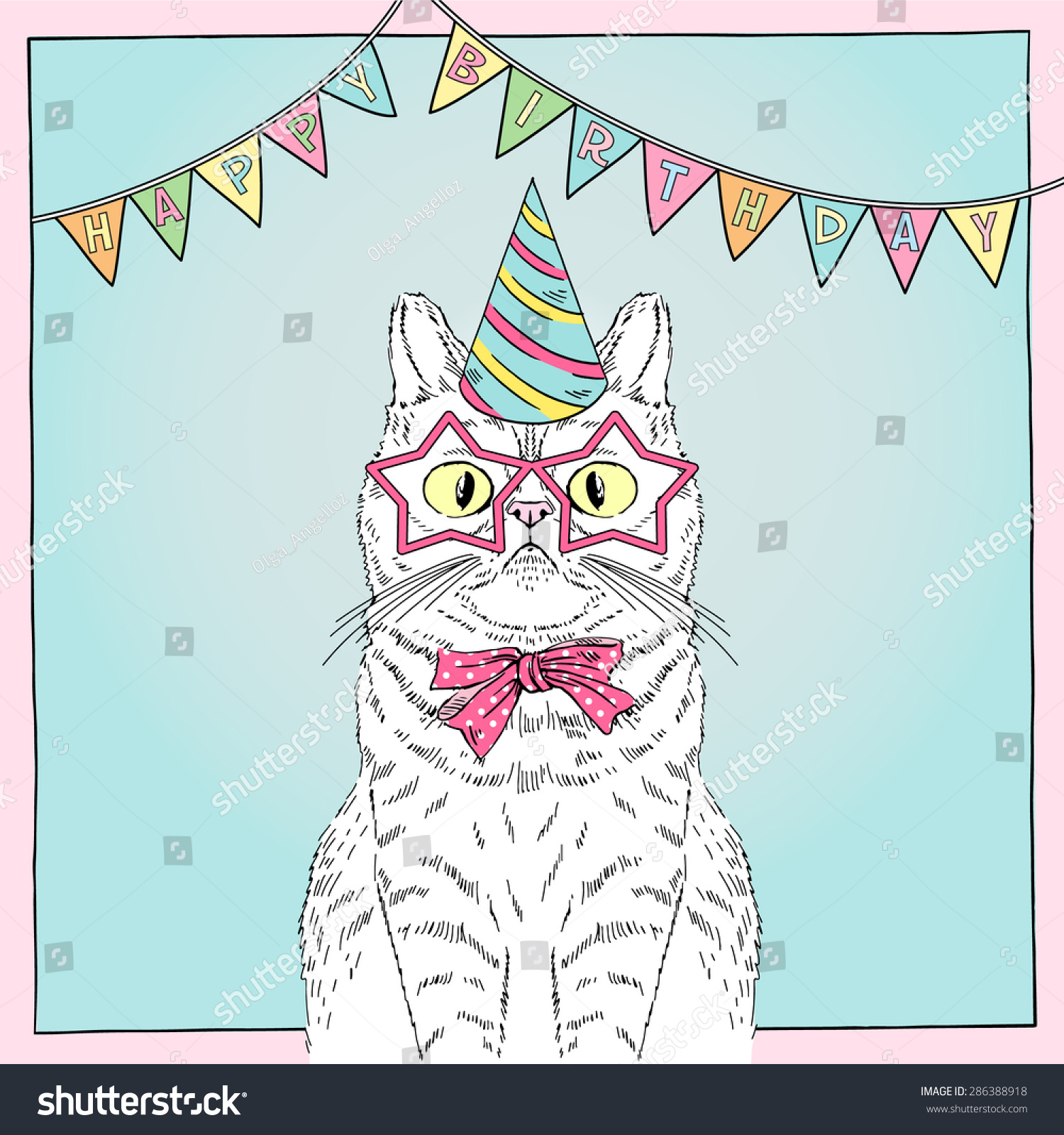 Hand Drawn Happy Birthday Card With Funny Cat Greeting Art Congratulatory Design