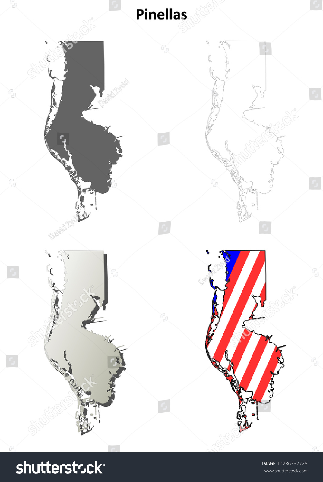 Pinellas County Map Florida.Pinellas County Florida Outline Map Set Stock Vector Royalty Free
