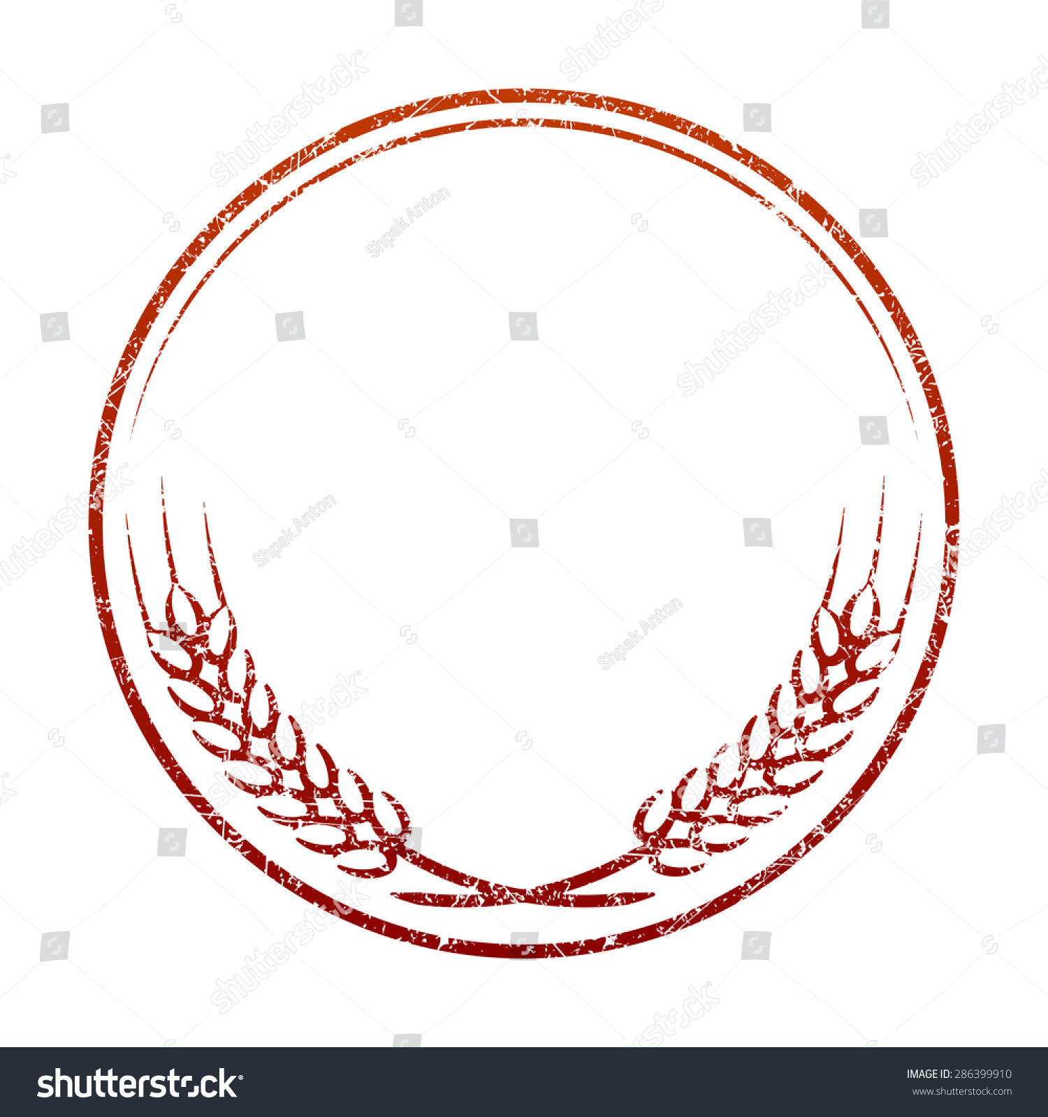 red grunge rubber stamp template spikelets stock vector royalty