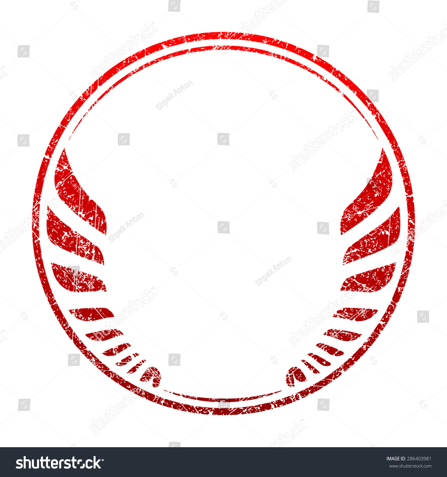 Red Grunge Rubber Stamp Template With Wings And An Empty Space For Your  Text, Logo