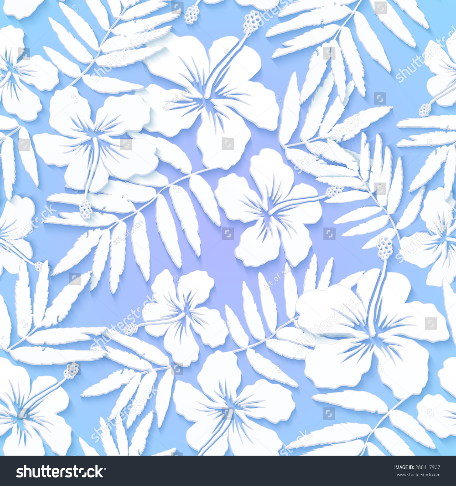 White Cutout Paper Flowers On Blue Stock Illustration 286417907