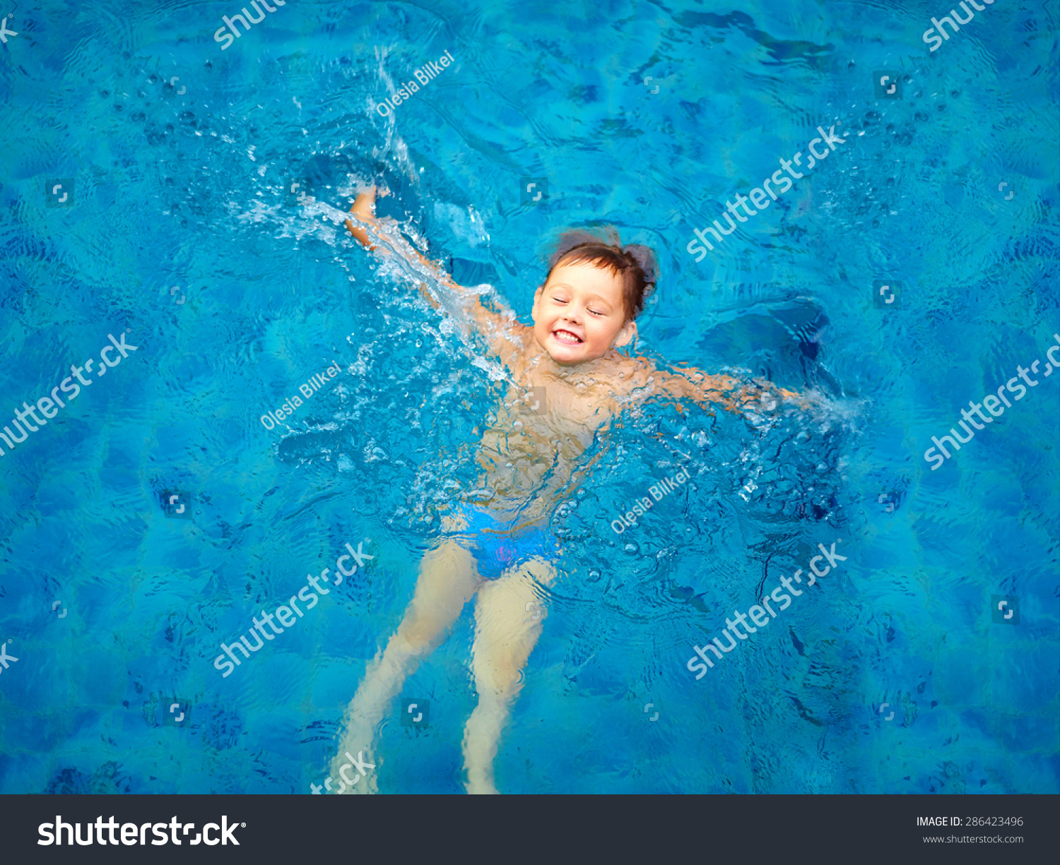 Cute Kid, Boy Swimming In Pool Water, Top View Stock Photo ...