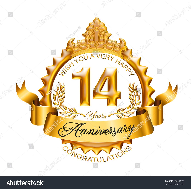 14 Years Anniversary Golden Laurel Wreath Stock Illustration