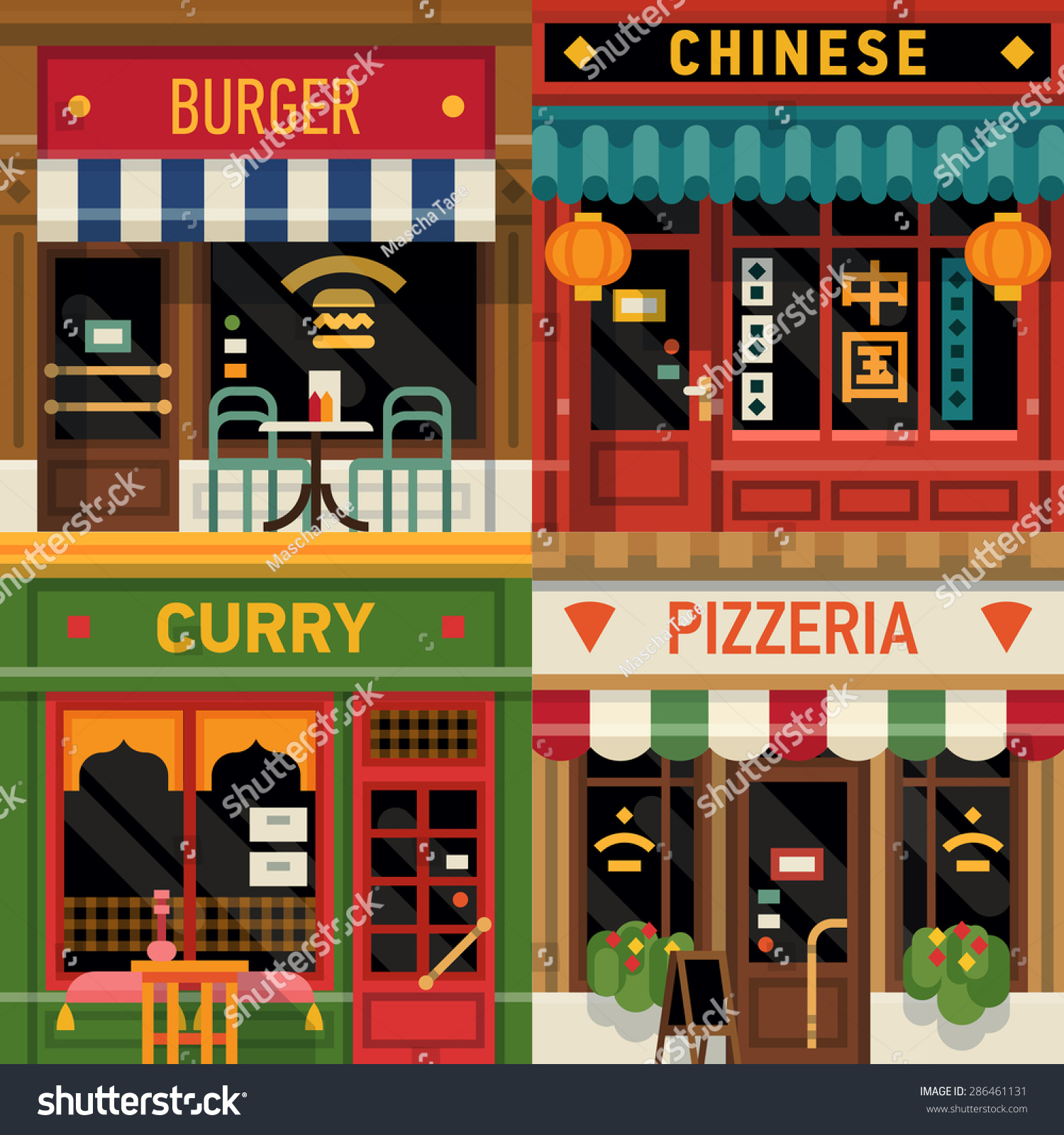 Cool set of vector detailed flat design restaurants facade