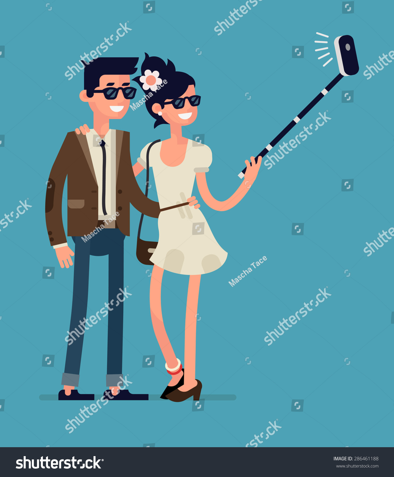 Character Design For Mobile Devices Pdf : Cool flat character design on young stock vector