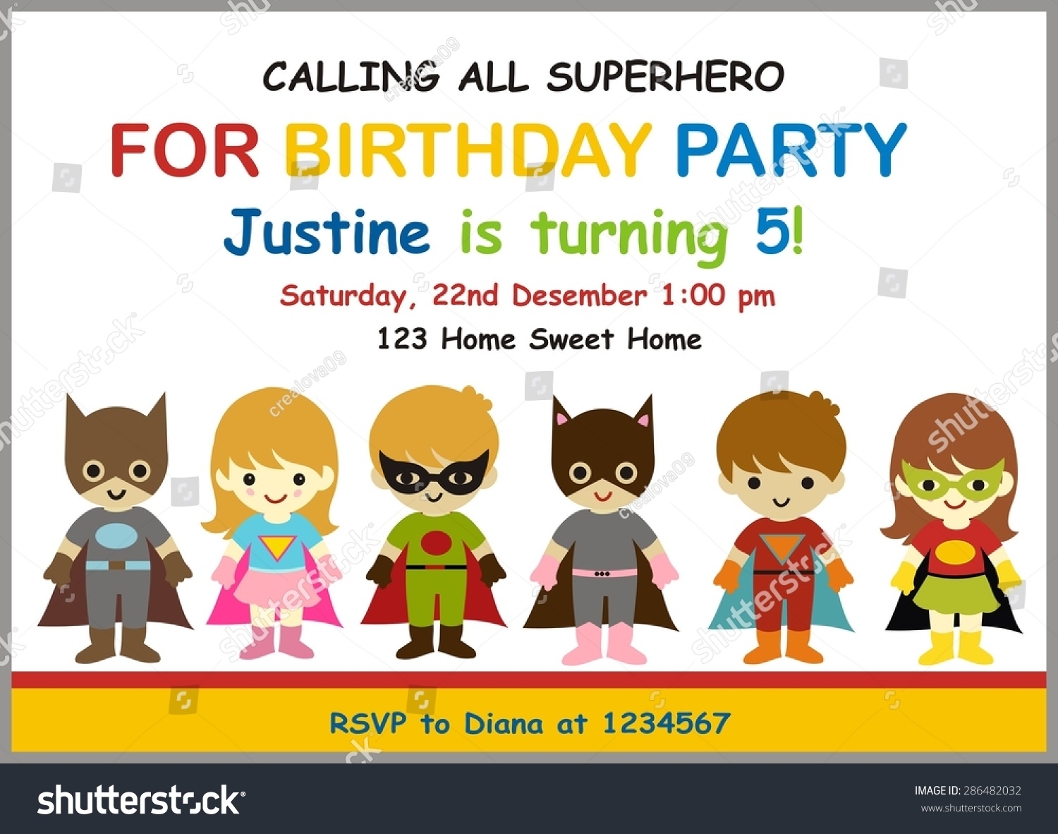 Cute superhero birthday invitation illustration vector