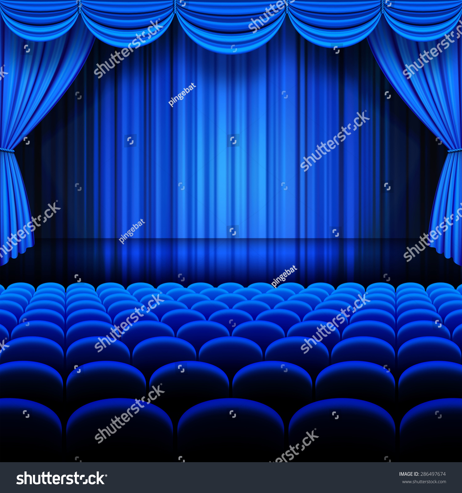Blue stage curtains blue stage curtain vector free vector in - A Vector Illustrations Of A Theater Stage With Blue Full Stage Curtains