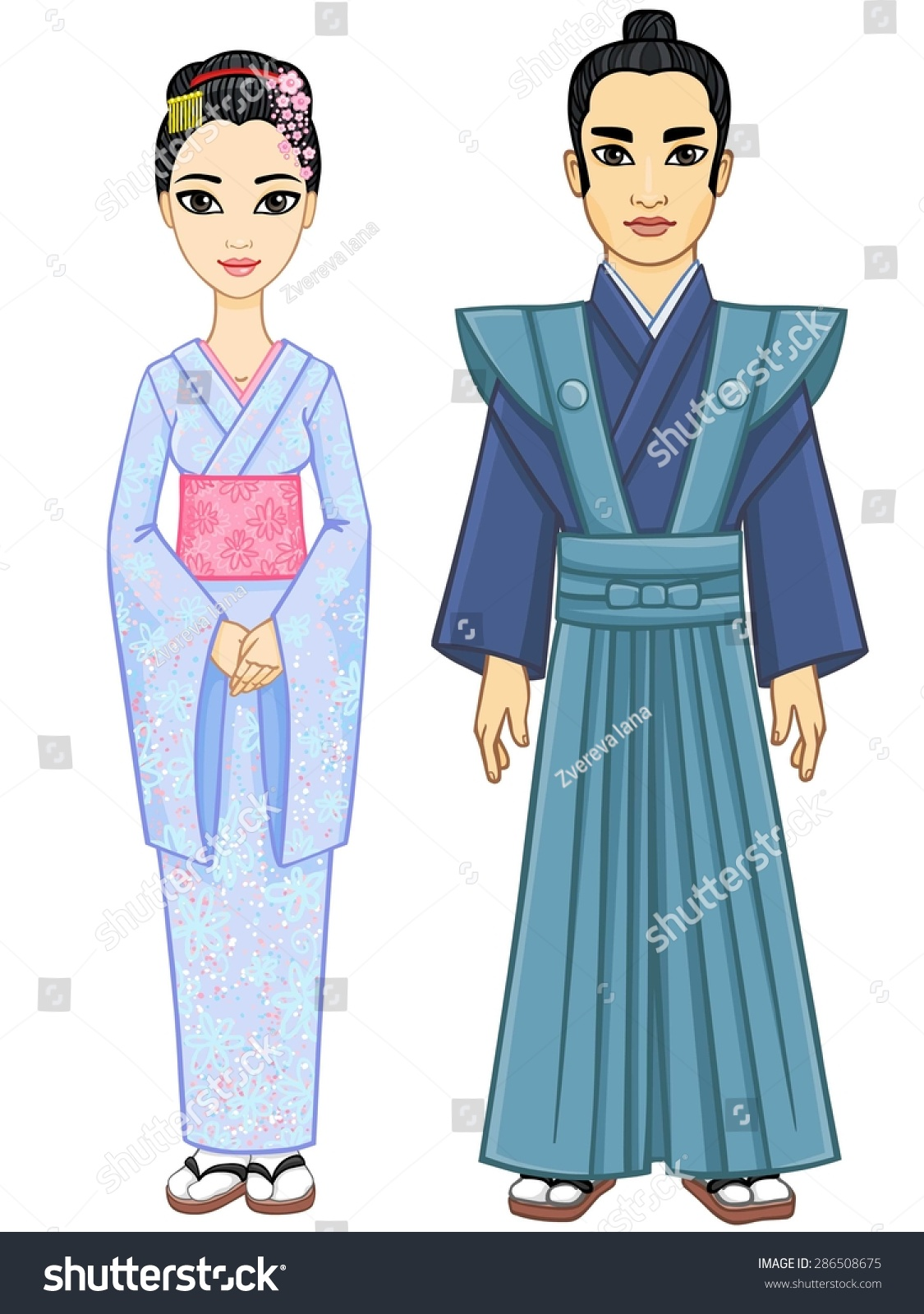 Animation Japanese Couple Man Woman Ancient Stock Vector ...