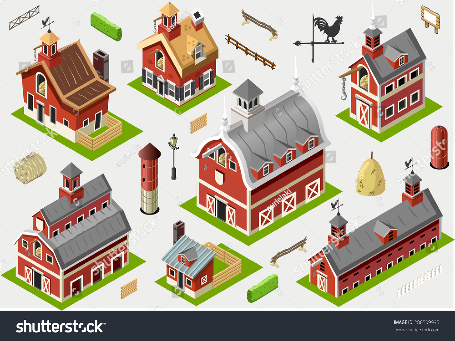 Isometric house building farm barn vector stock vector for Build house online 3d free