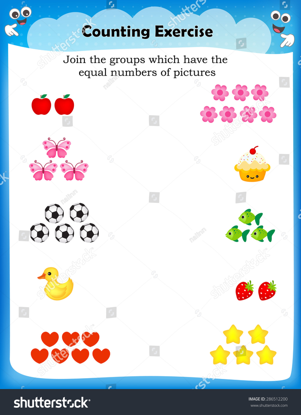 Kids Worksheet Counting Exercises Count Match Vector – Number Matching Worksheets for Kindergarten