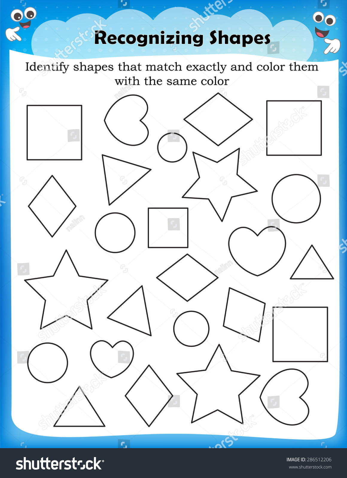Kids Worksheet Identifying Different Shapes Stock Vector 286512206 ...