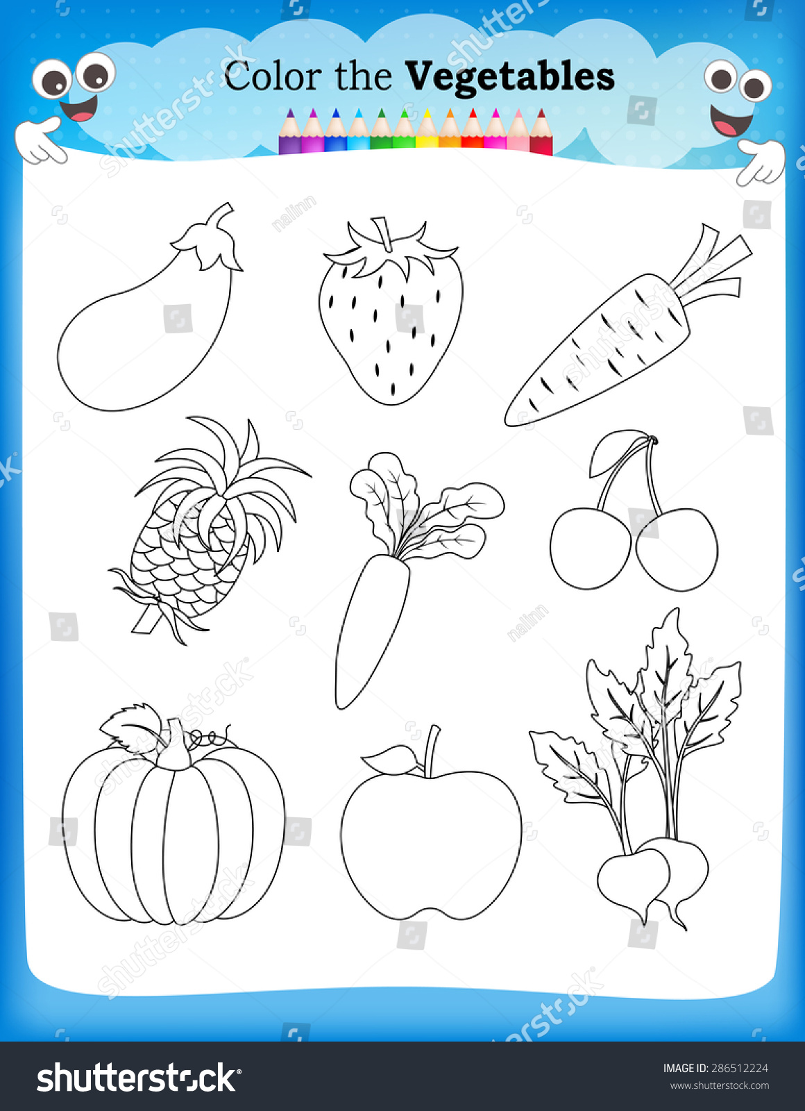 Kids Worksheet With Fruits And Vegetables Stock Vector ...