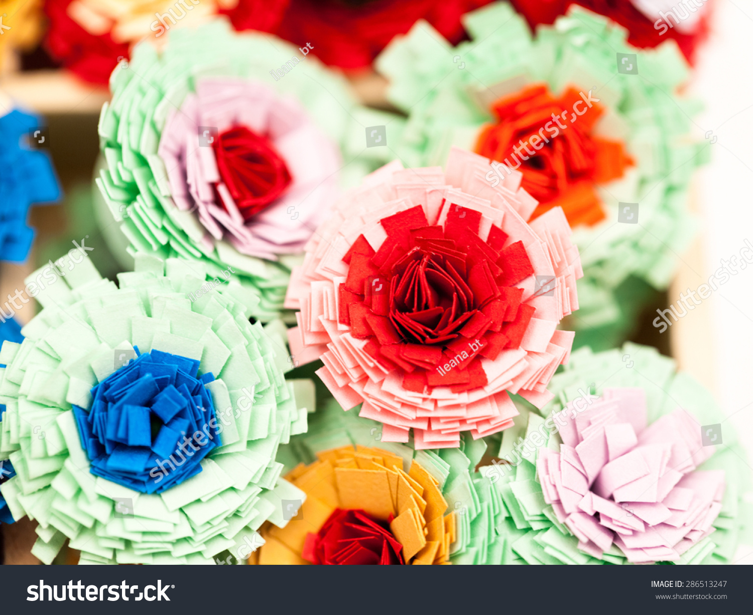 Small Colorful Paper Flowers Made Quilling Stock Photo Edit Now