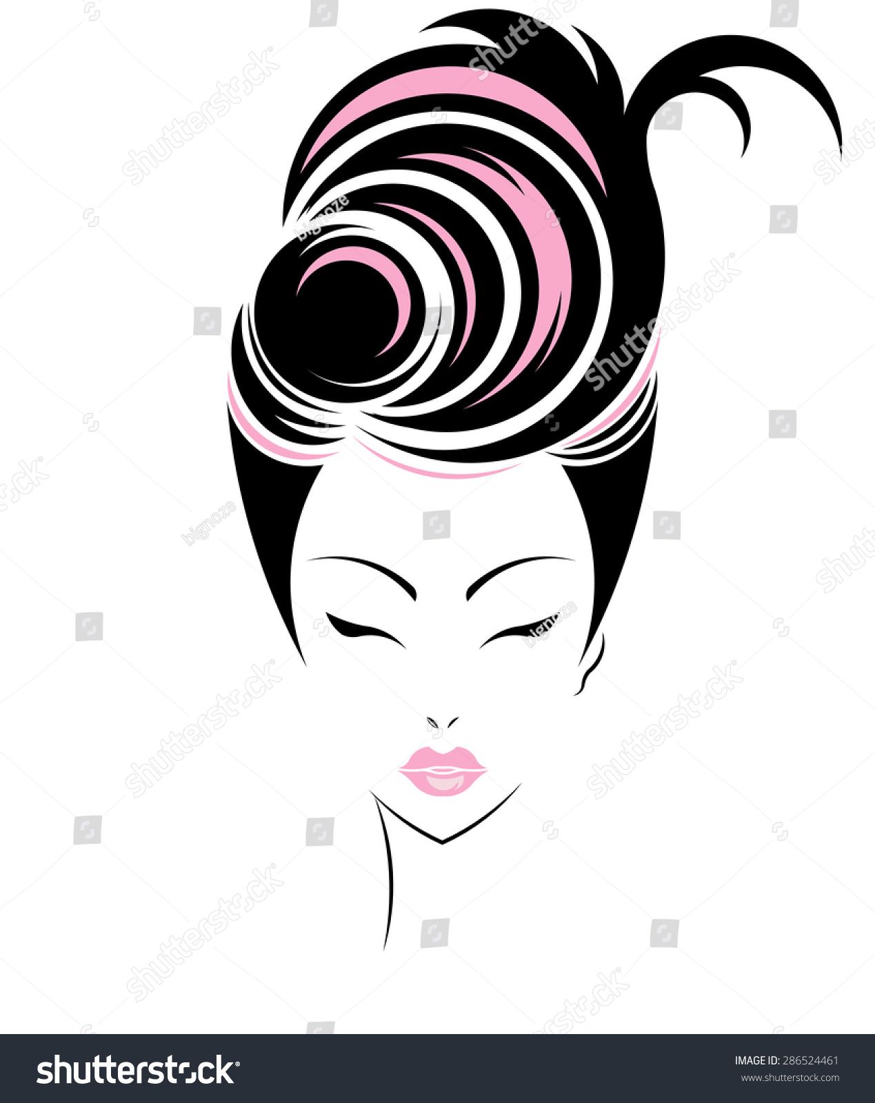 Hairstyles Logo : Short Hair Style Icon, Logo Women Face On White Background, Vector ...