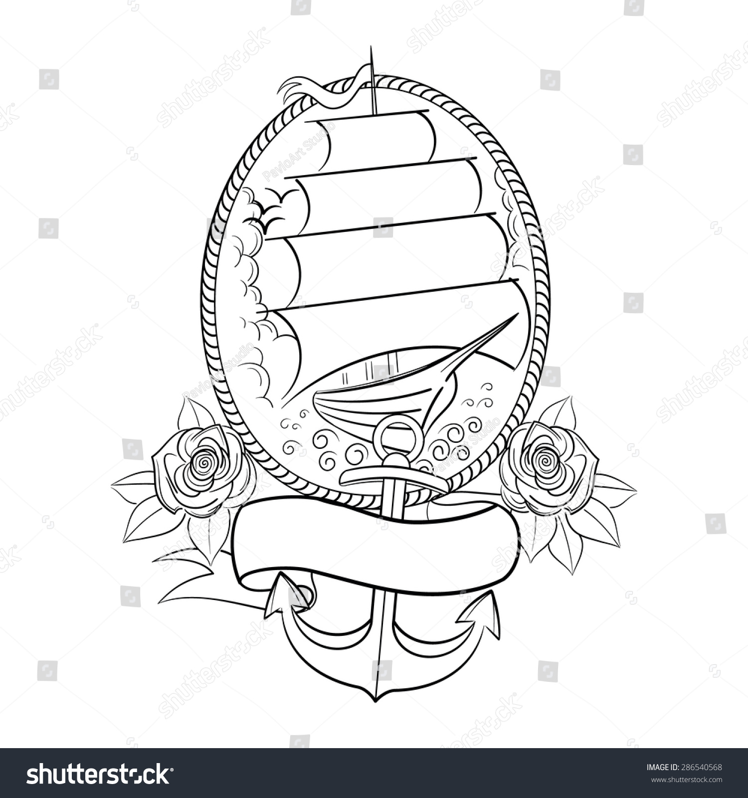 Oldschool Tattoo Style Ship Outline Vector Stock Vector ...