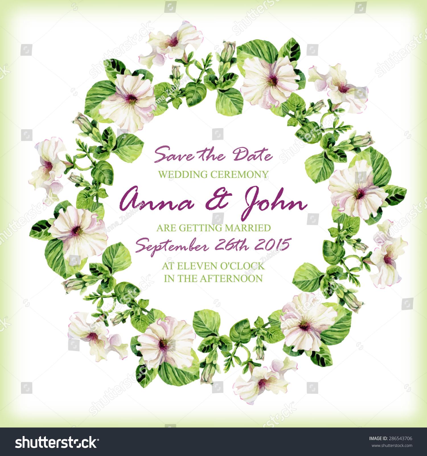 Wedding Invitation Design Template Watercolor Floral Stock Vector 286543706 Shutterstock