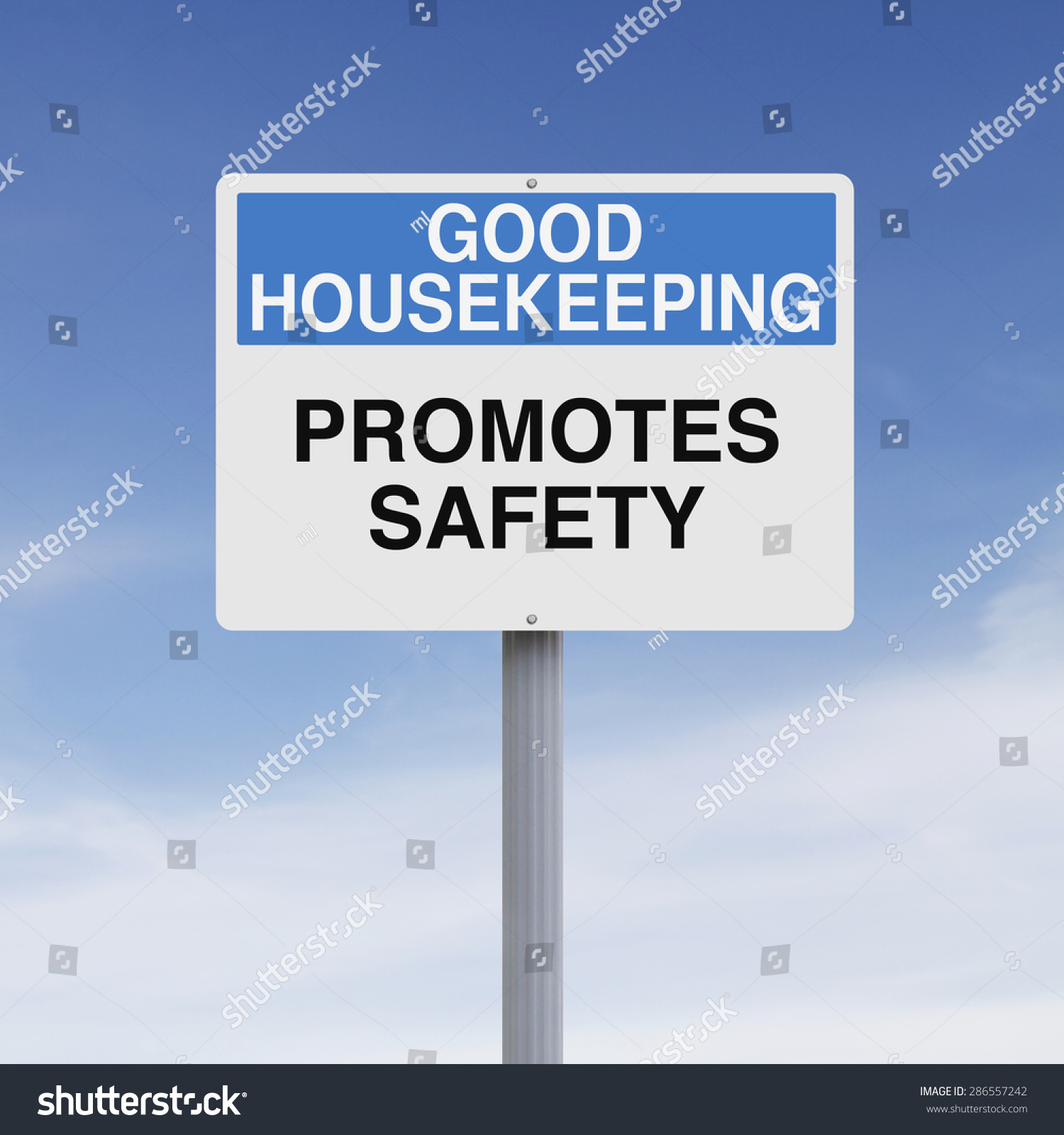 Good Housekeeping: A Modified Road Sign On Good Housekeeping Stock Photo