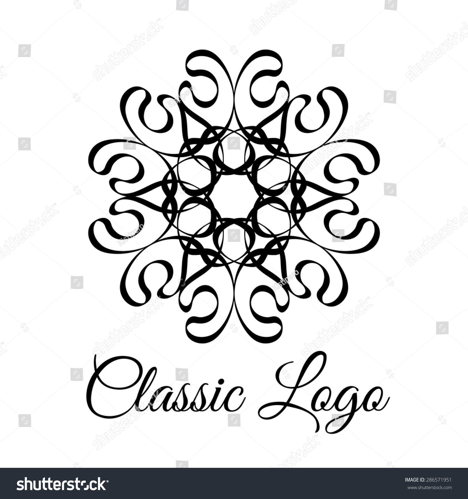 Lace Classic Calligraphy Copperplate Circle Flower Logo