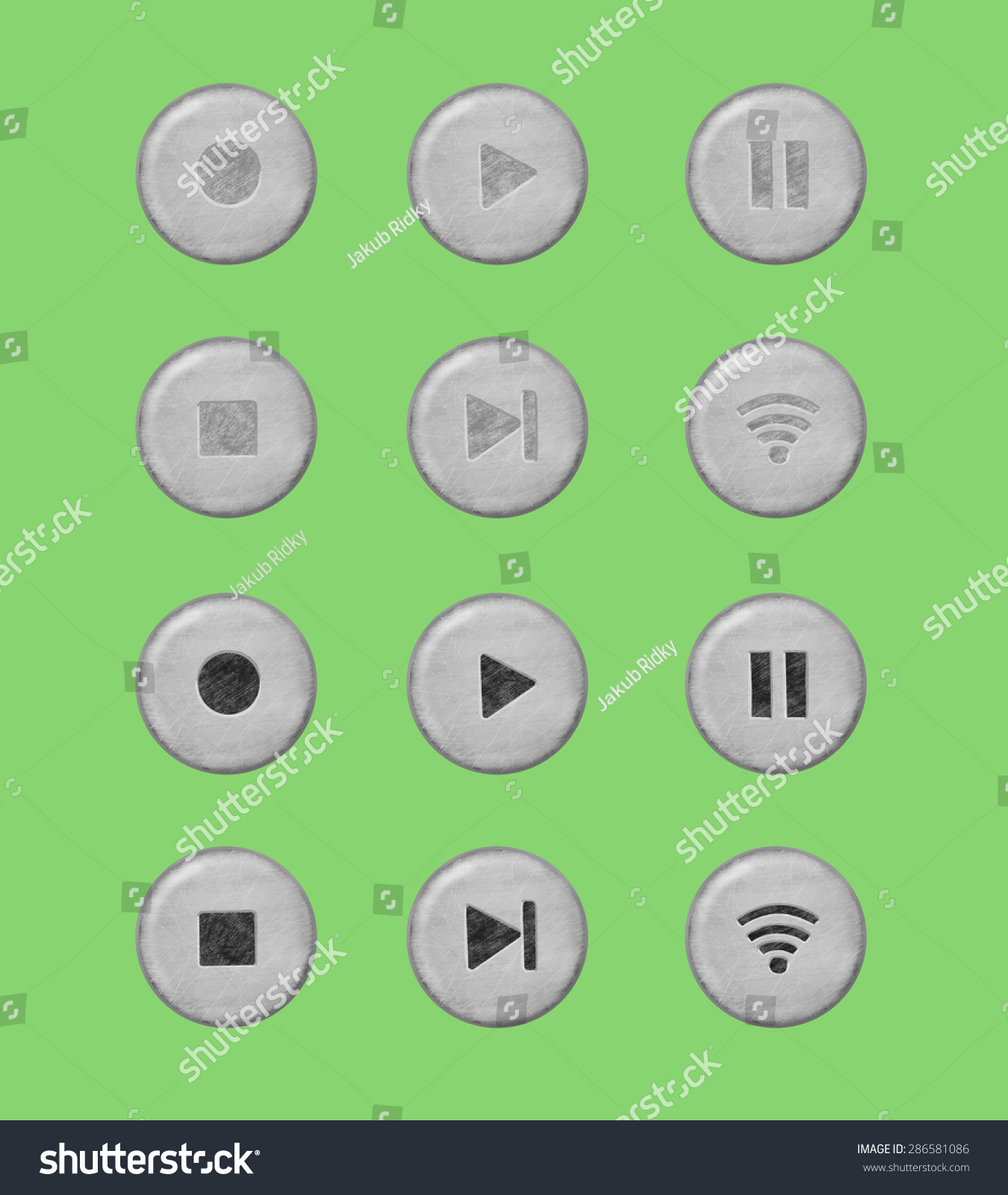 Drawn Raster Image Music Buttons Versions Stock Illustration