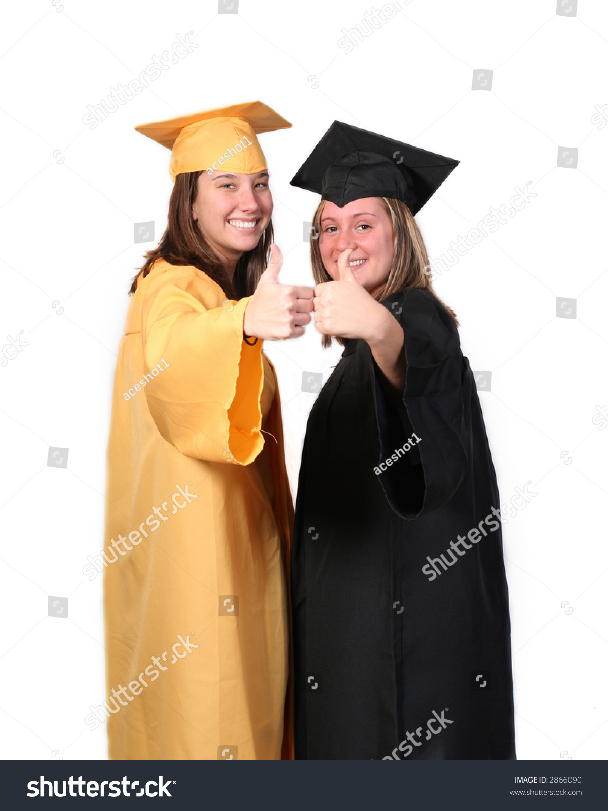 Two Girls Their Caps Gowns Graduation Stock Photo (Edit Now) 2866090 ...