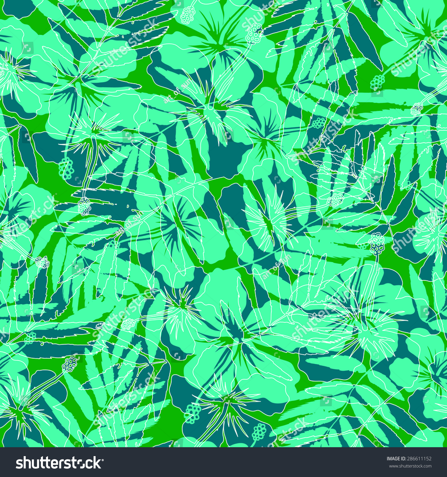 Green Tropical Flowers Silhouettes Vector Seamless Pattern
