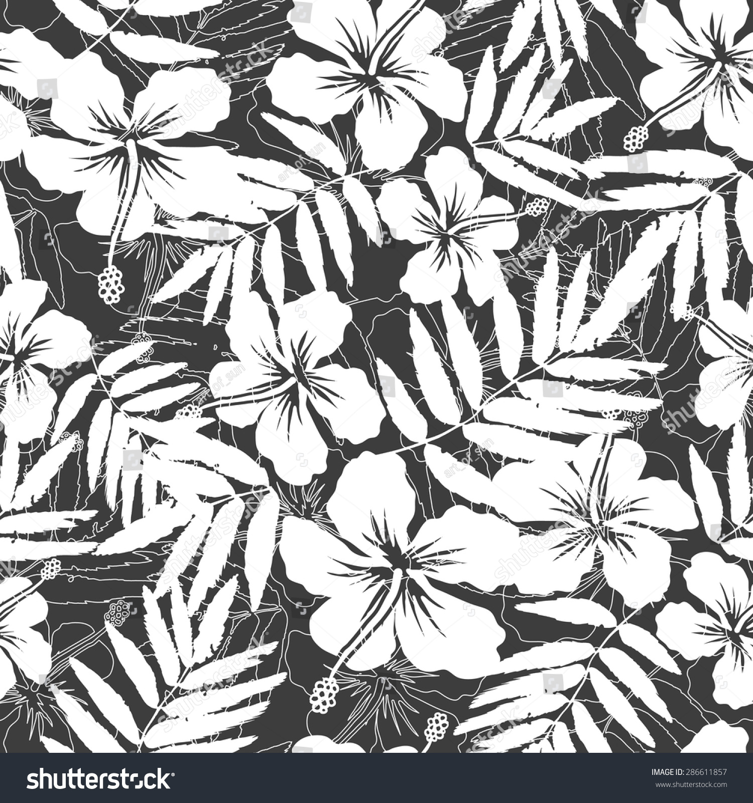 White Gray Tropical Flowers Silhouettes Vector Stock Vector Royalty