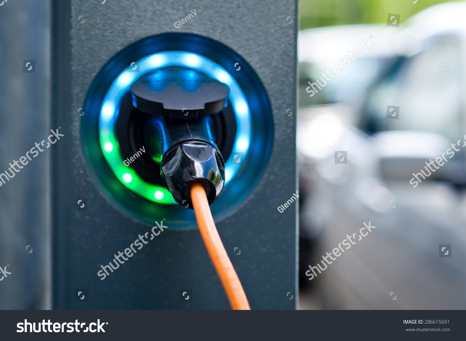 Socket For Electrical Car Battery Charger With Load Indicator Lights Selective Focus