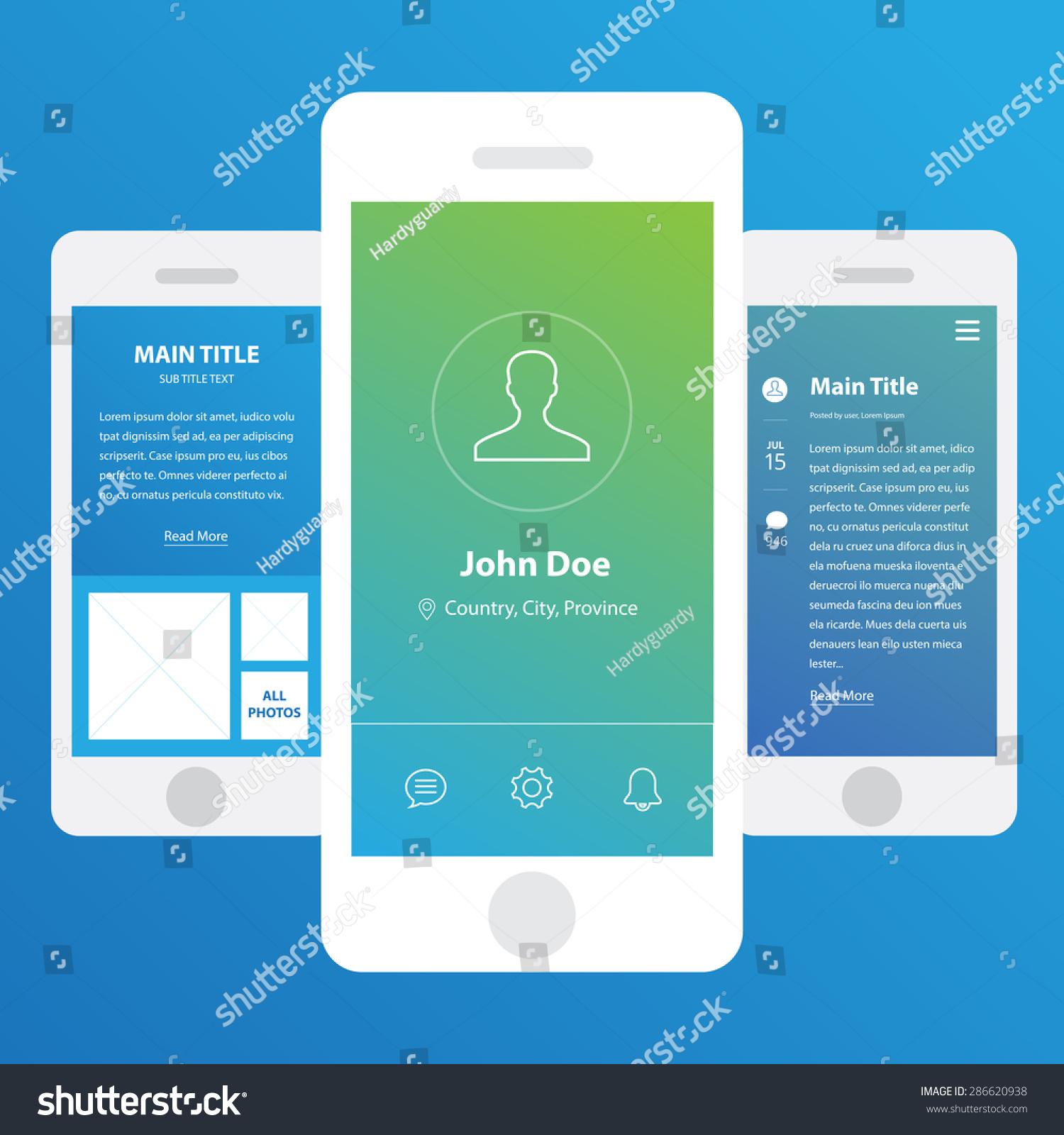 wireframe mobile app ui kit profile stock vector  wireframe mobile app ui kit profile screen wireframe mobile app ui kit blog post screen