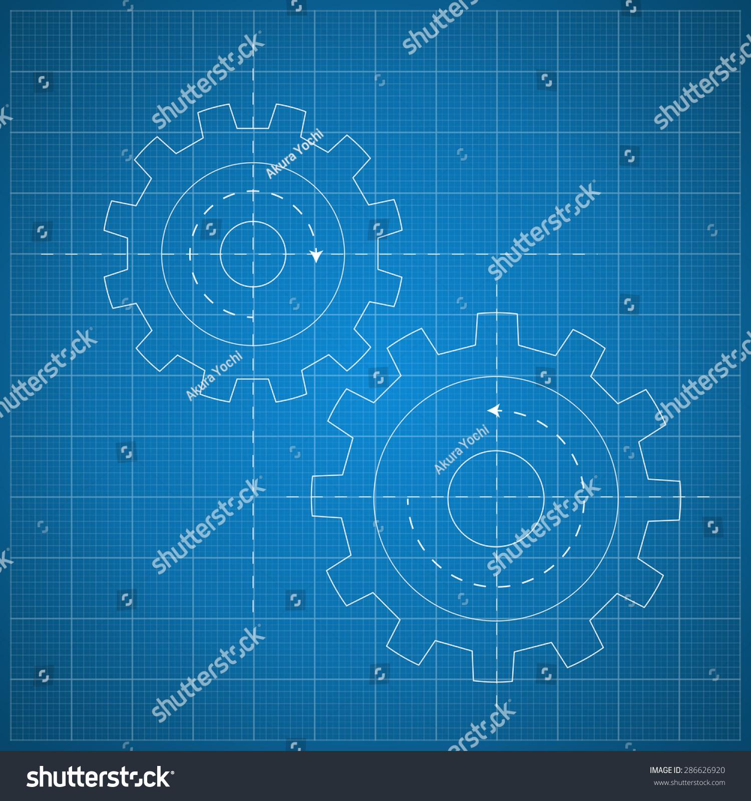 Gears symbol on blueprint paper background stock vector 286626920 gears symbol on the blueprint paper background concept mechanics engineering malvernweather Images