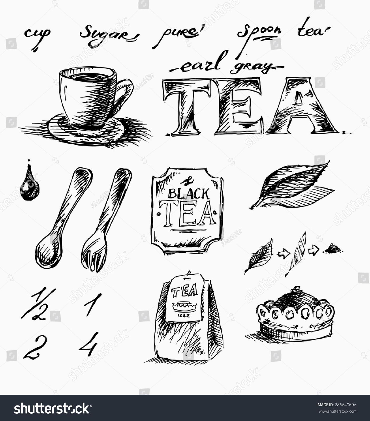 Free Hand Draw Tea Set Cup Stock Illustration 286640696 - Shutterstock