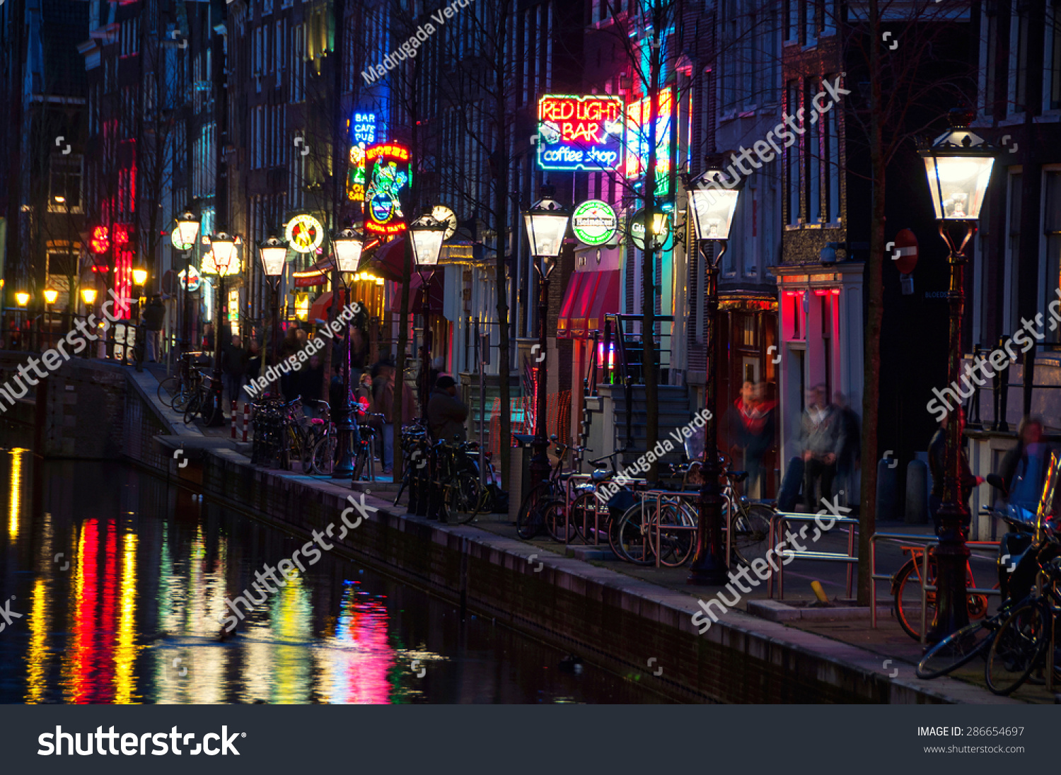 Amsterdam netherlands march 16 2014 night stock photo royalty free amsterdam netherlands march 16 2014 night view of red light district aloadofball Image collections