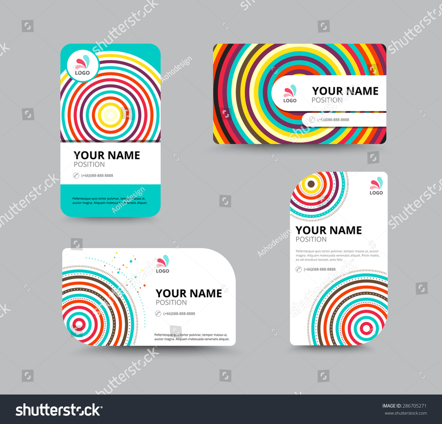 Business Card Design Template Circle Concept Stock Vector (2018 ...
