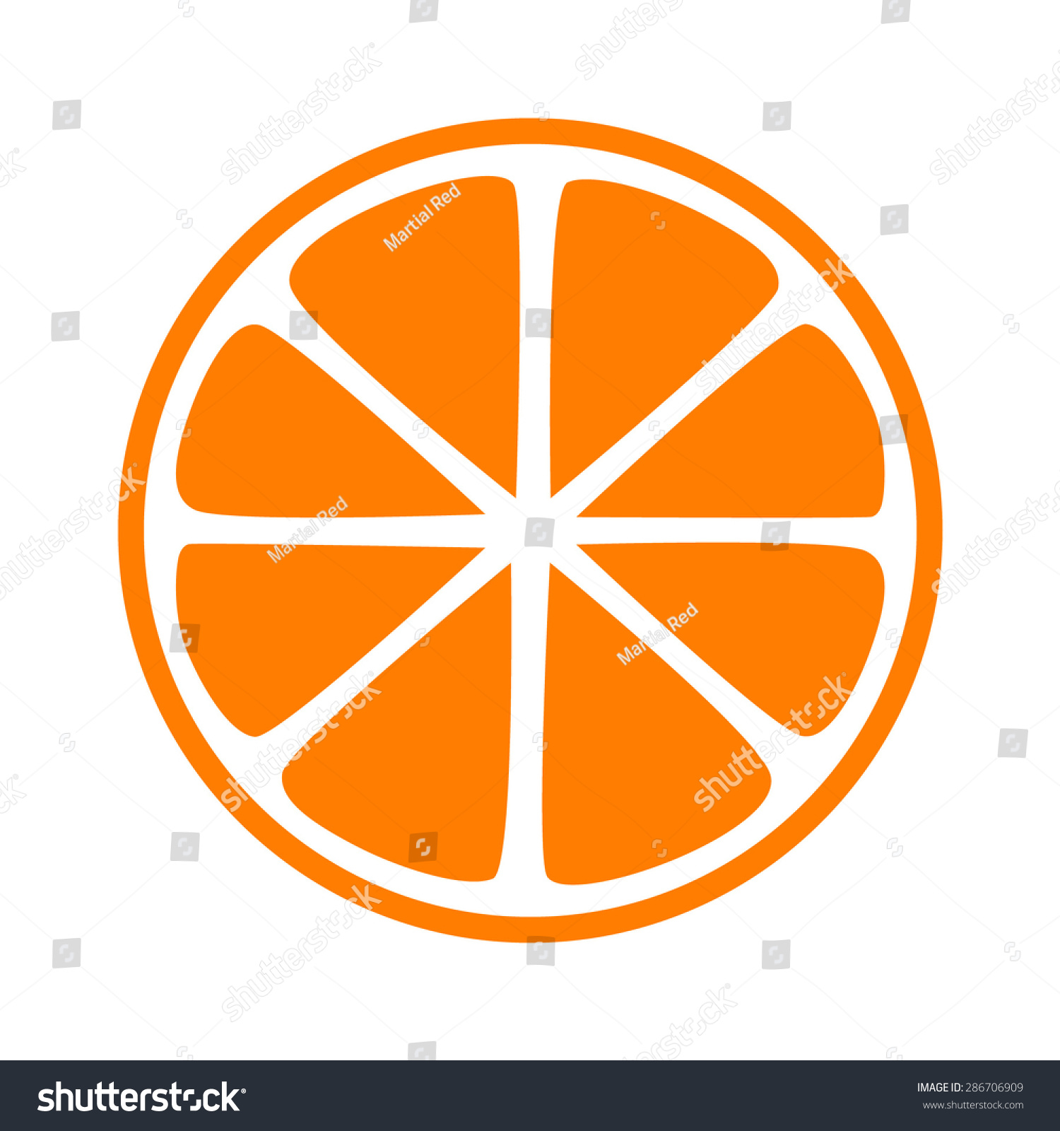 Orange Tangerine Mandarin Orange Half Slice Stock Vector ...