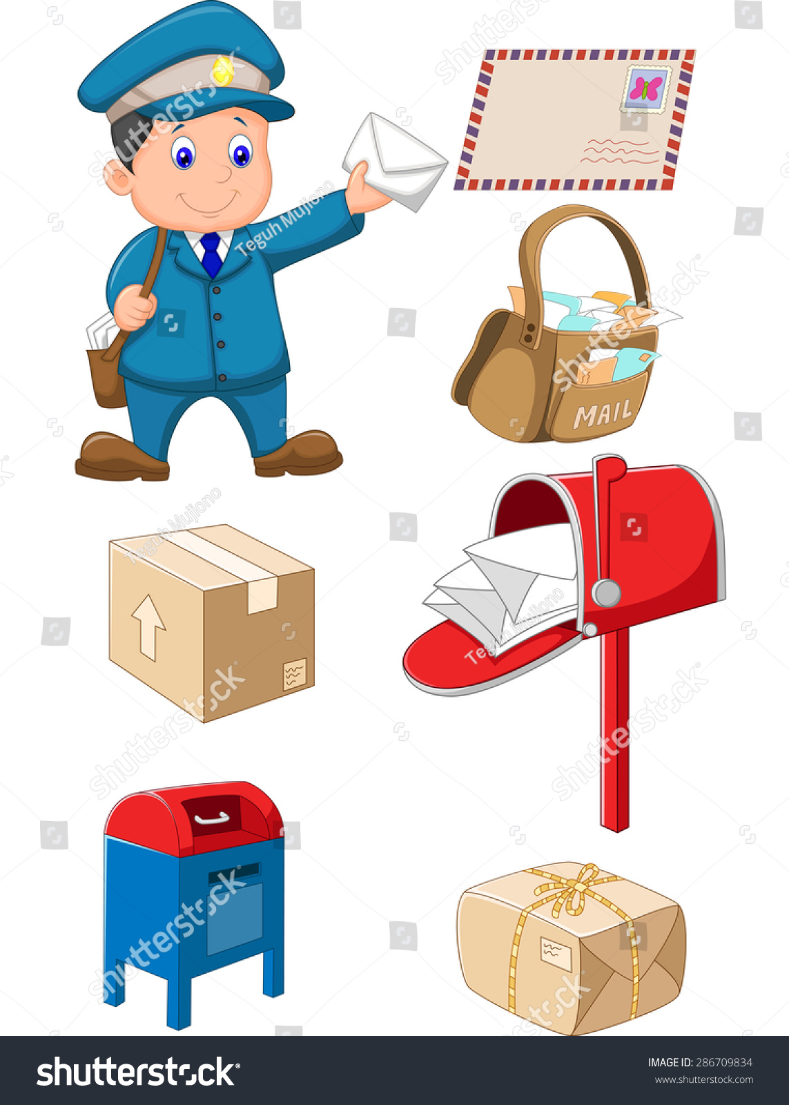 Mail carrier bag letter stock vector 286709834 shutterstock mail carrier with bag and letter madrichimfo Gallery
