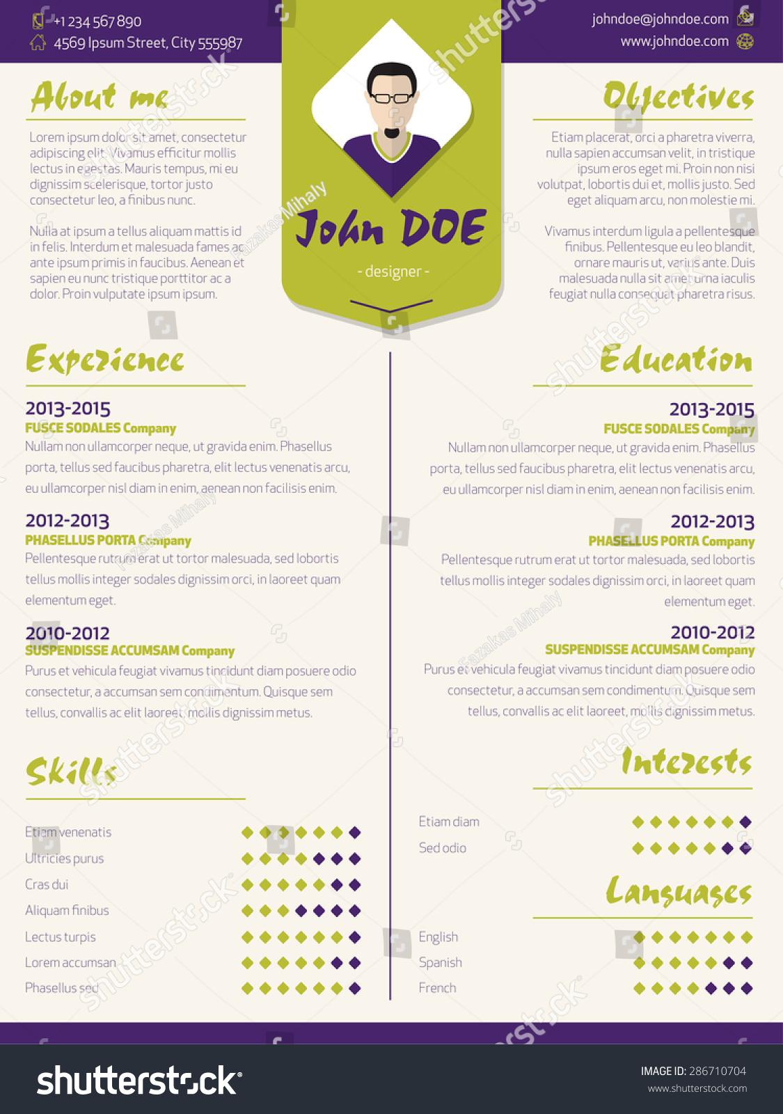 colorful modern resume curriculum vitae cv stock vector 286710704 colorful modern resume curriculum vitae cv template design elements