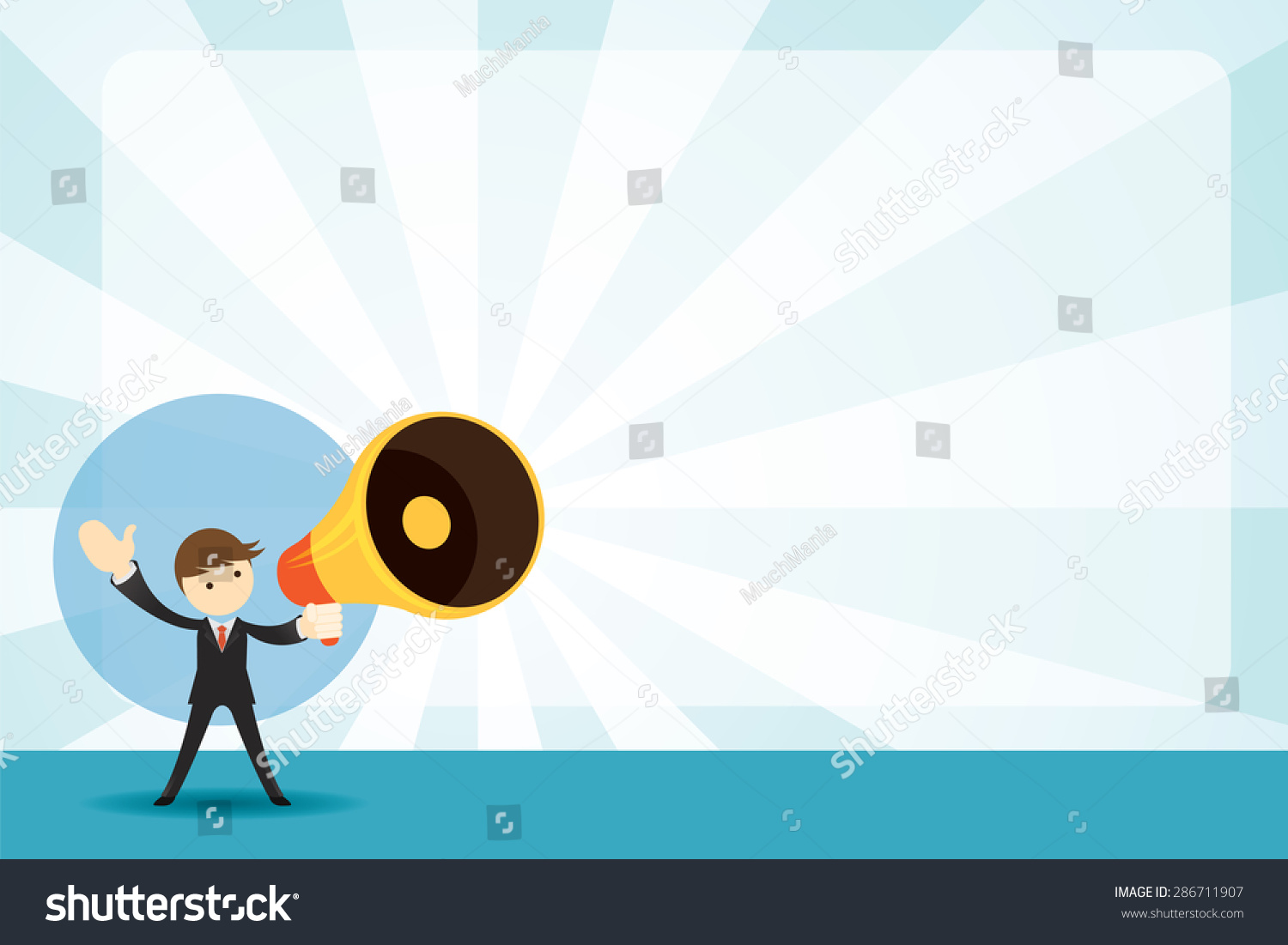 Businessman With Megaphone Announcement Background Commercial Promotion Event Poster And Other AD