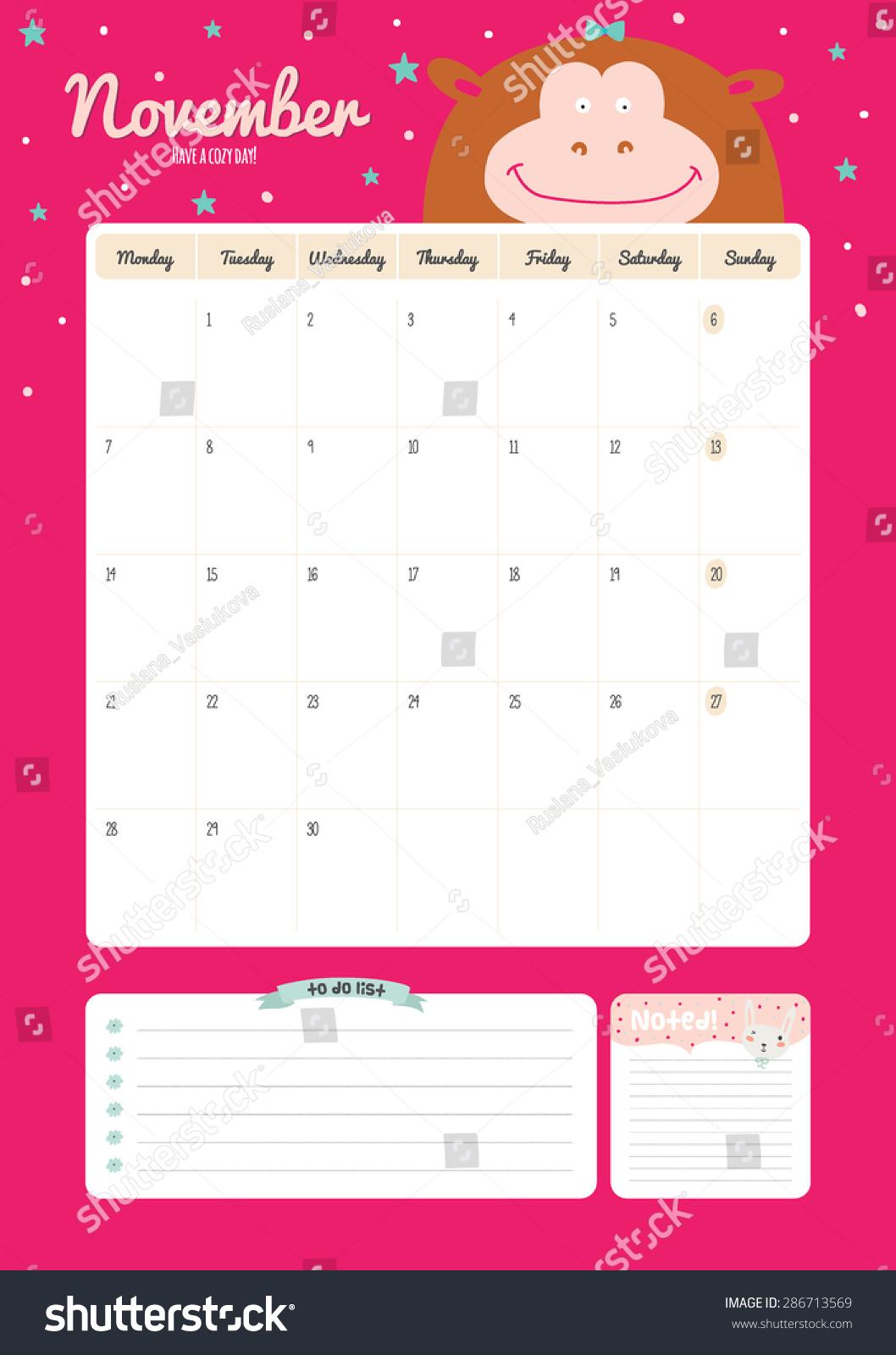 Cute Calendar Illustration : Cute calendar template beautiful diary stock vector