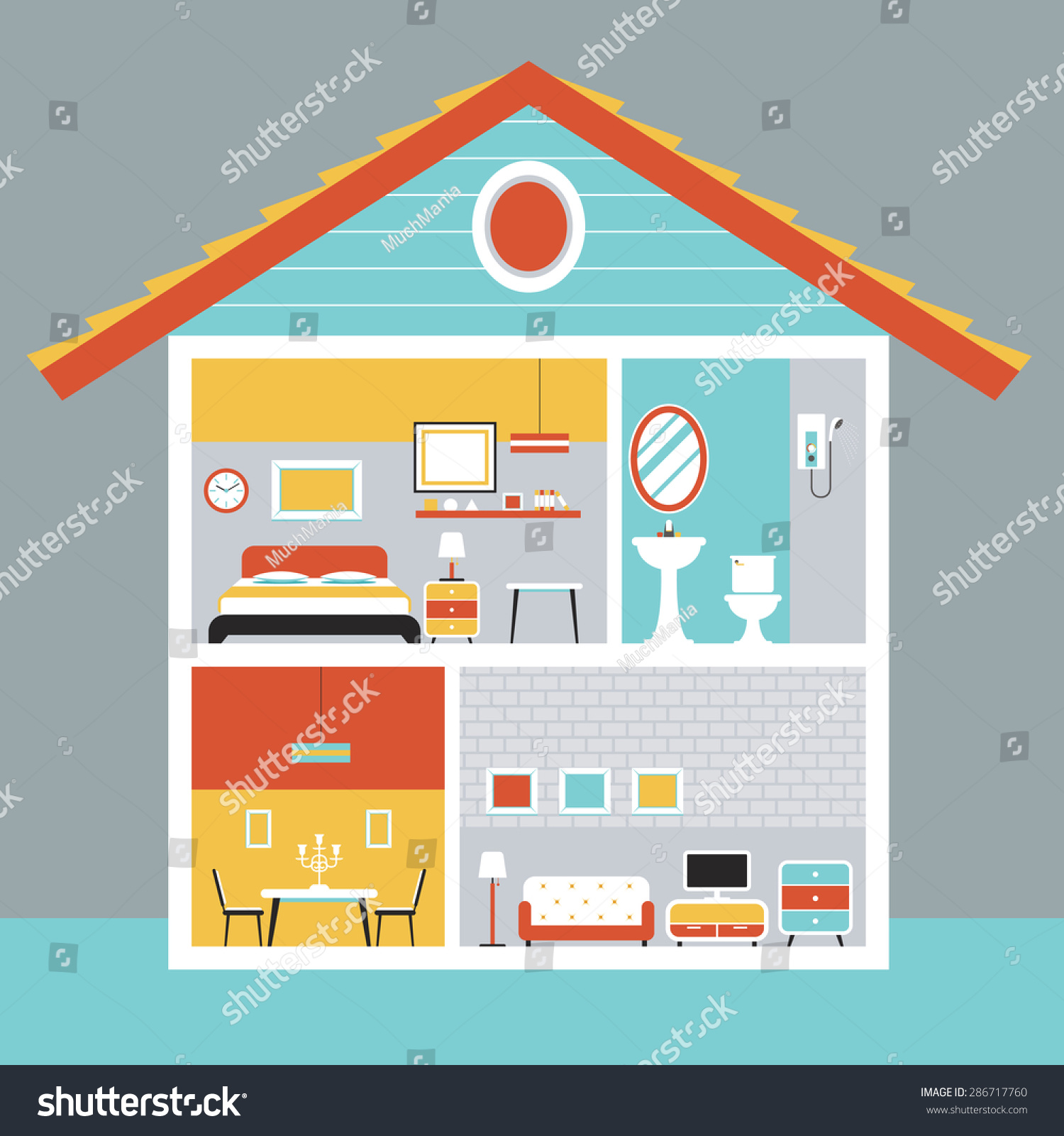 Cutaway house room furniture flat design stock vector 286717760 cutaway house with room and furniture flat design household home interior objects ccuart Choice Image