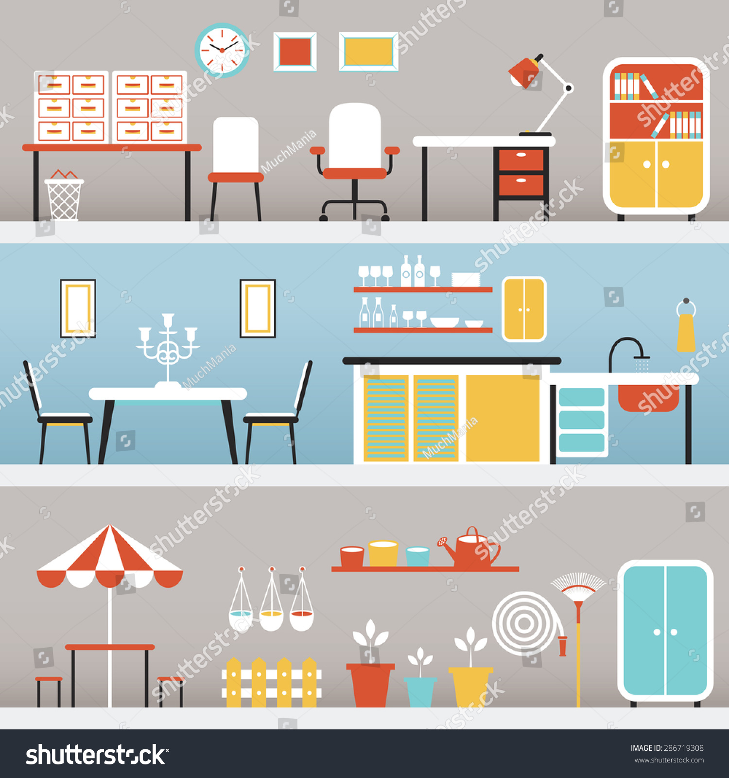 Kitchen Office Furniture Office Kitchen Outdoor Household Home Stock Vector