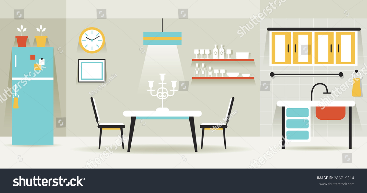 Kitchen Dining Room Furniture Display Panorama Household Home Interior Objects