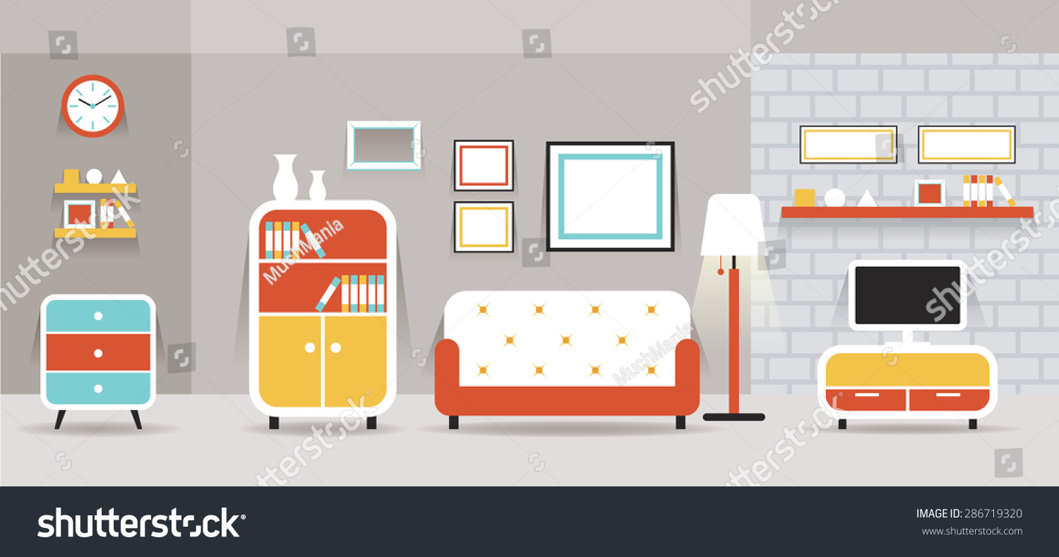 Living Room Furniture Display Panorama Household Stock Vector (2018 ...