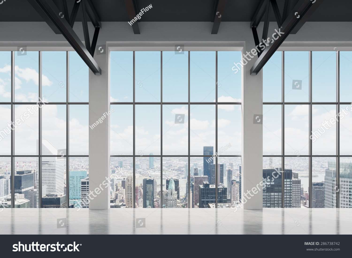 Contemporary office space new york view stock photo 286738742 shutterstock - Small office space nyc concept ...