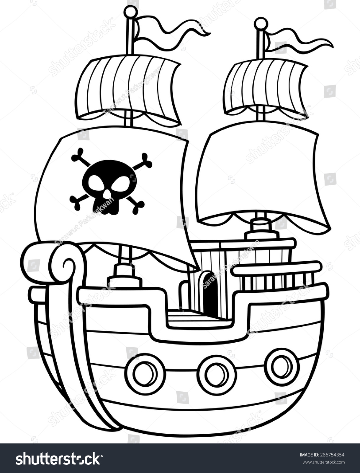 Vector Illustration Pirate Ship Coloring Book Stock Vector ...