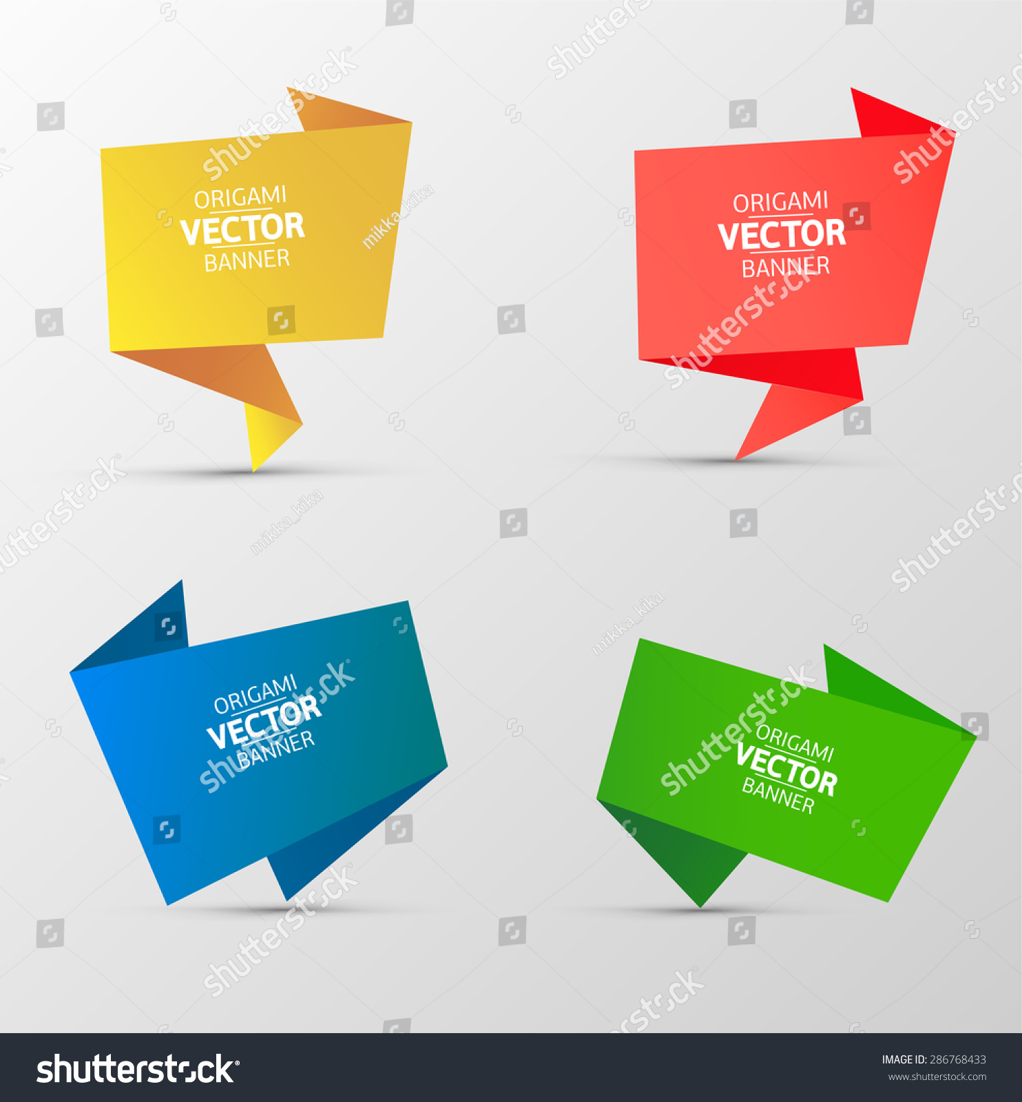 Set Colorful Paper Origami Banners 10 Stock Vector